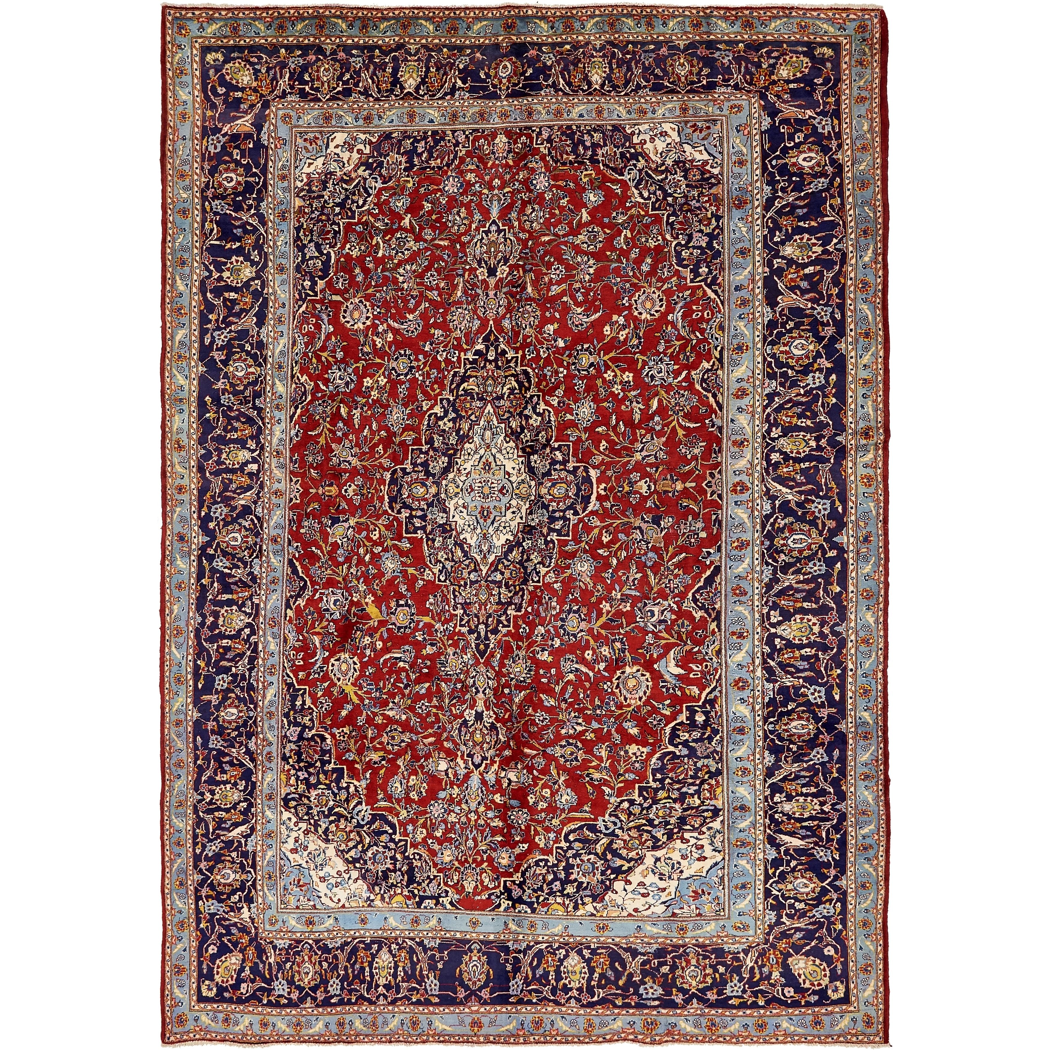 Hand Knotted Kashan Semi Antique Wool Area Rug - 9 4 x 13 3 (Red - 9 4 x 13 3)
