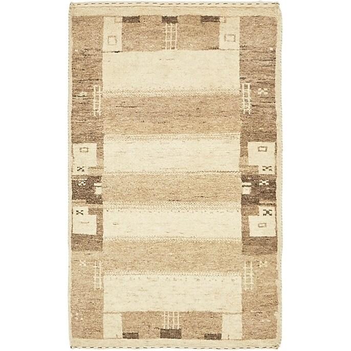 Hand Knotted Kashkuli Gabbeh Wool Area Rug - 1 10 x 3 (Cream - 1 10 x 3)