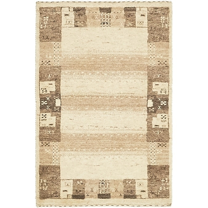 Hand Knotted Kashkuli Gabbeh Wool Area Rug - 1 9 x 2 9 (Cream - 1 9 x 2 9)