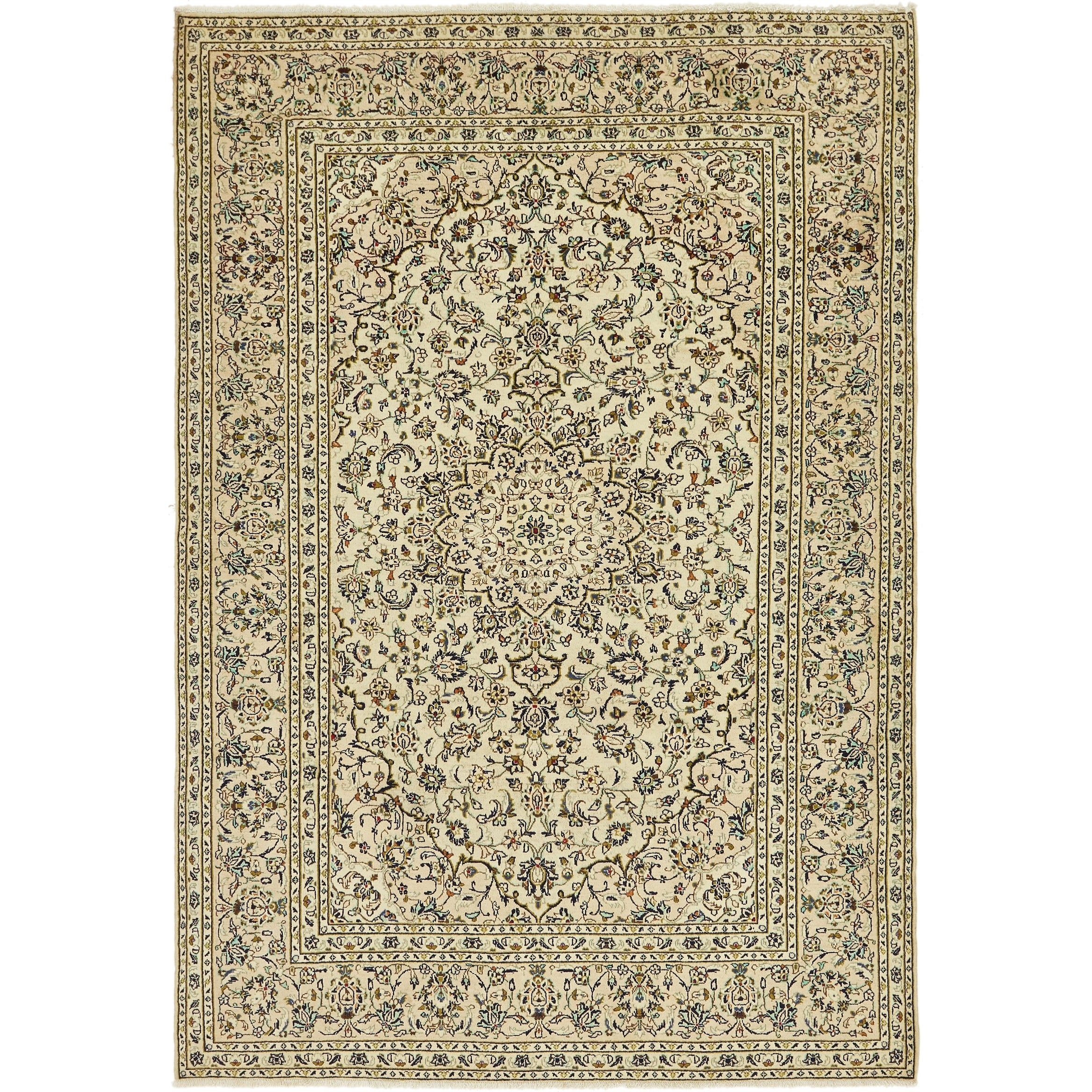 Hand Knotted Kashan Semi Antique Wool Area Rug - 6 7 x 9 7 (Ivory - 6 7 x 9 7)
