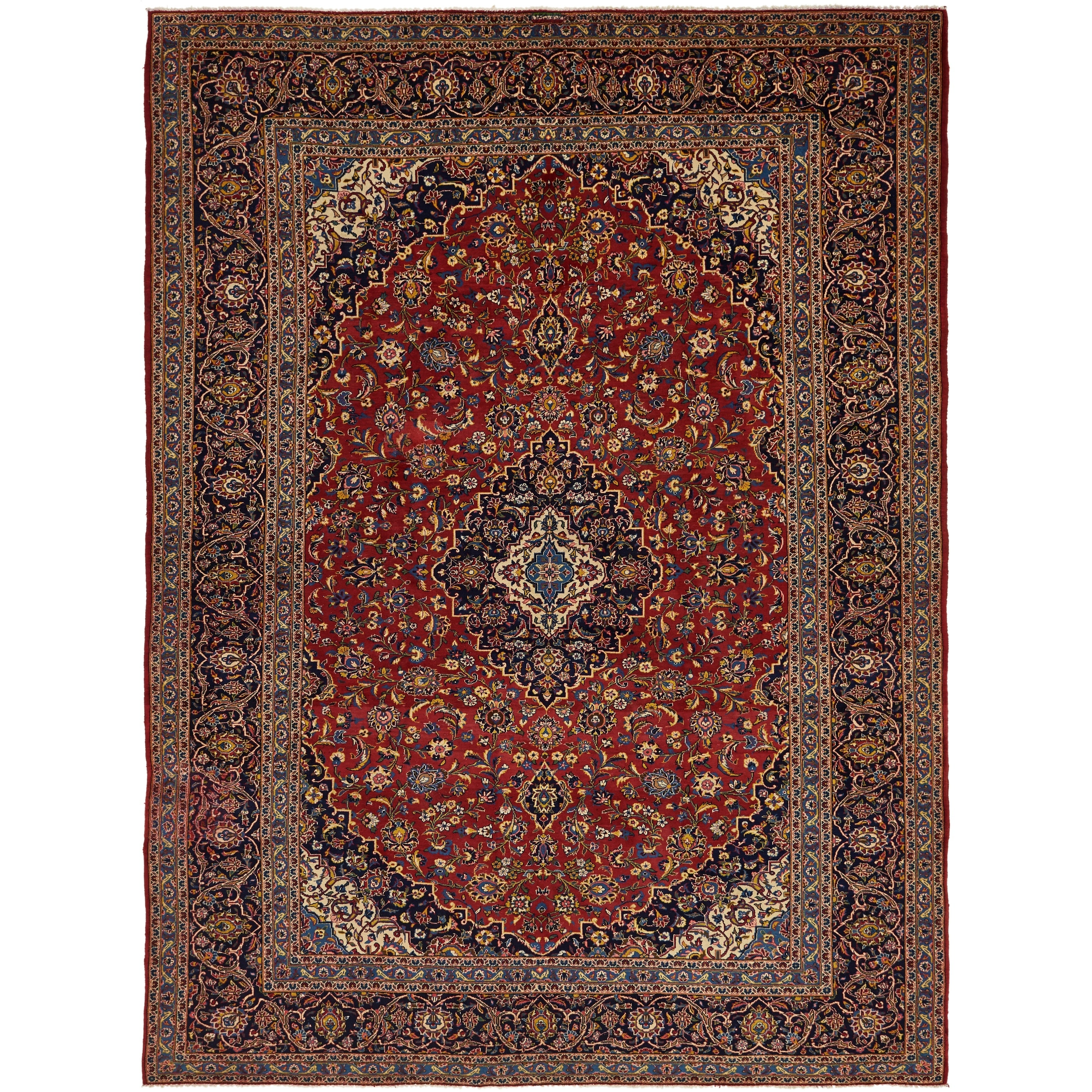 Hand Knotted Kashan Semi Antique Wool Area Rug - 9 6 x 13 (Red - 9 6 x 13)