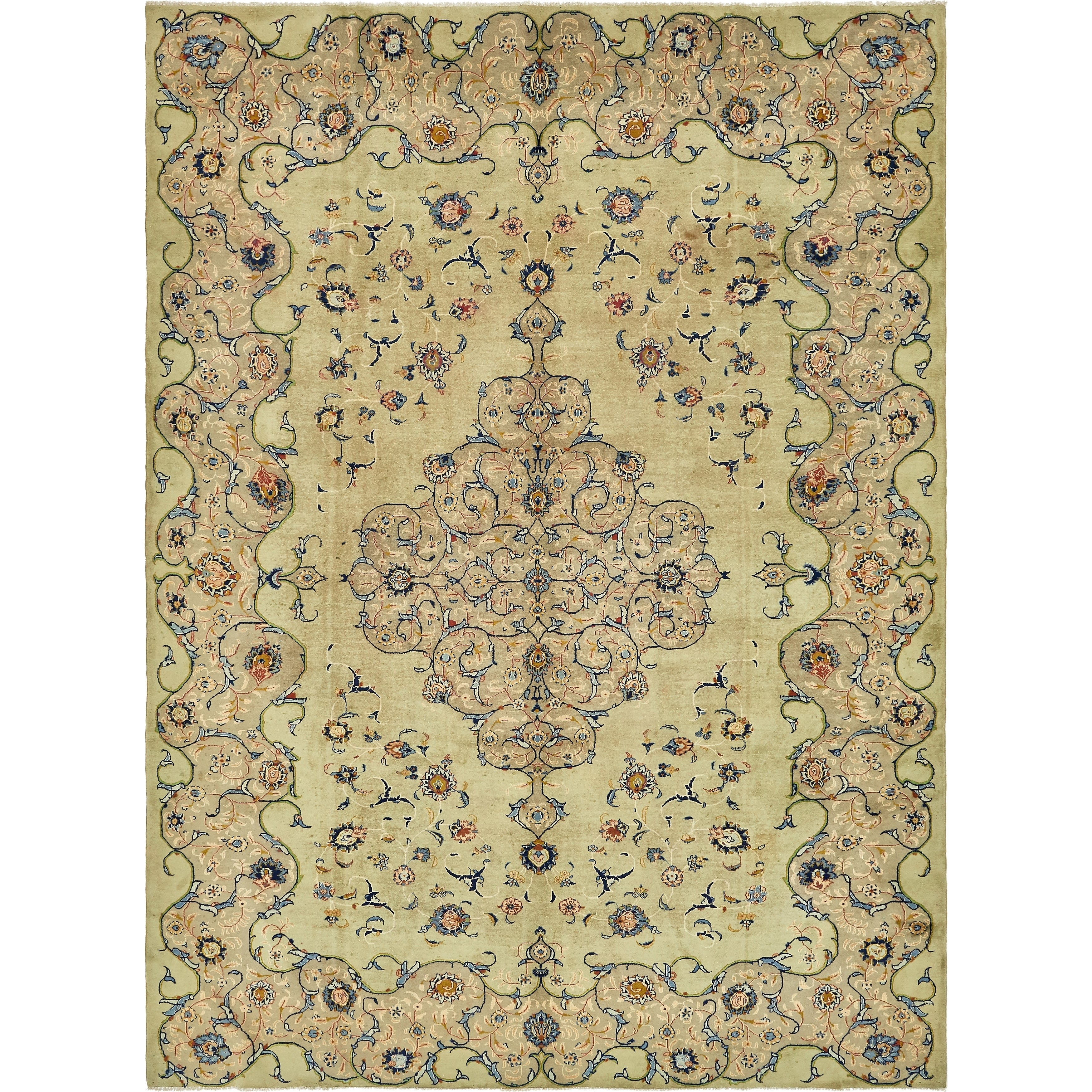 Hand Knotted Kashan Semi Antique Wool Area Rug - 10 x 13 7 (Green - 10 x 13 7)