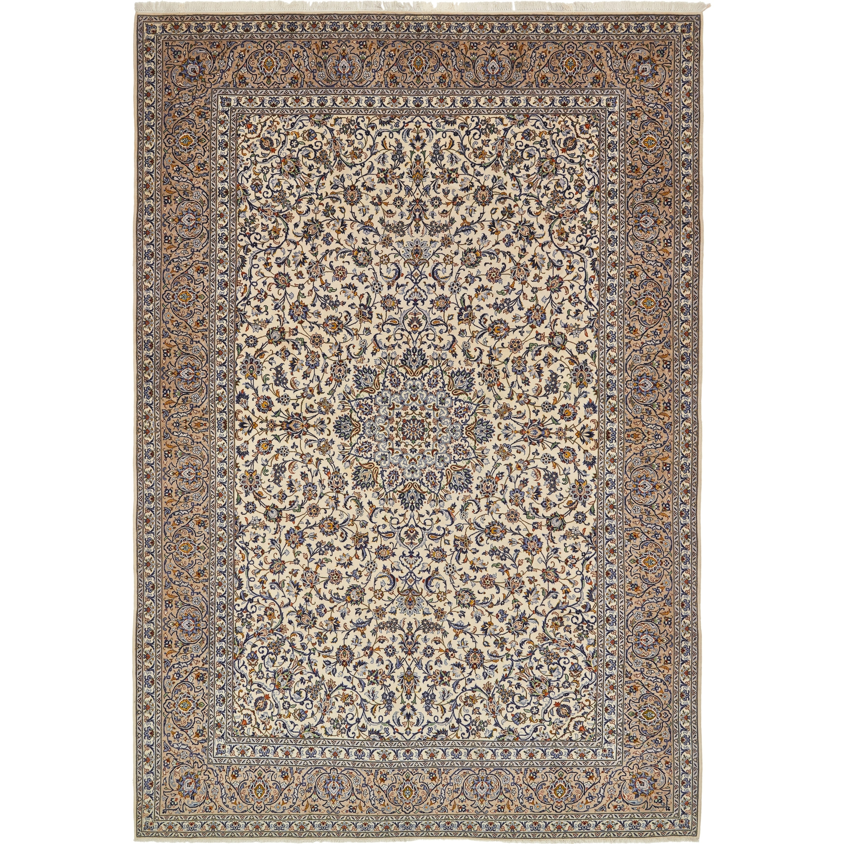 Hand Knotted Kashan Semi Antique Wool Area Rug - 11 3 x 16 4 (Ivory - 11 3 x 16 4)
