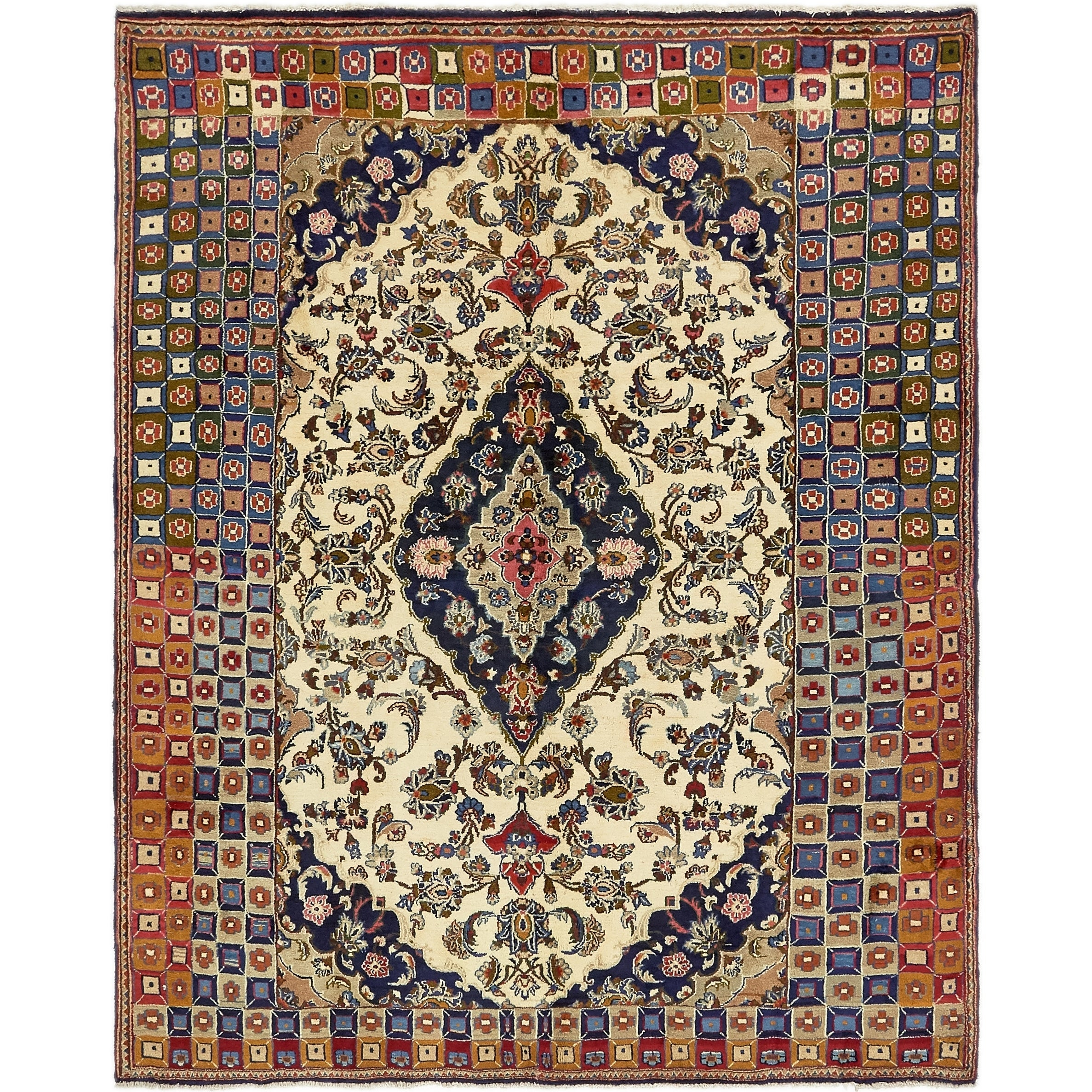 Hand Knotted Kashan Semi Antique Wool Area Rug - 6 5 x 8 (Ivory - 6 5 x 8)
