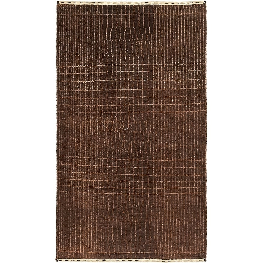 Hand Knotted Kashkuli Gabbeh Silk & Wool Area Rug - 2 4 x 4 (Brown - 2 4 x 4)