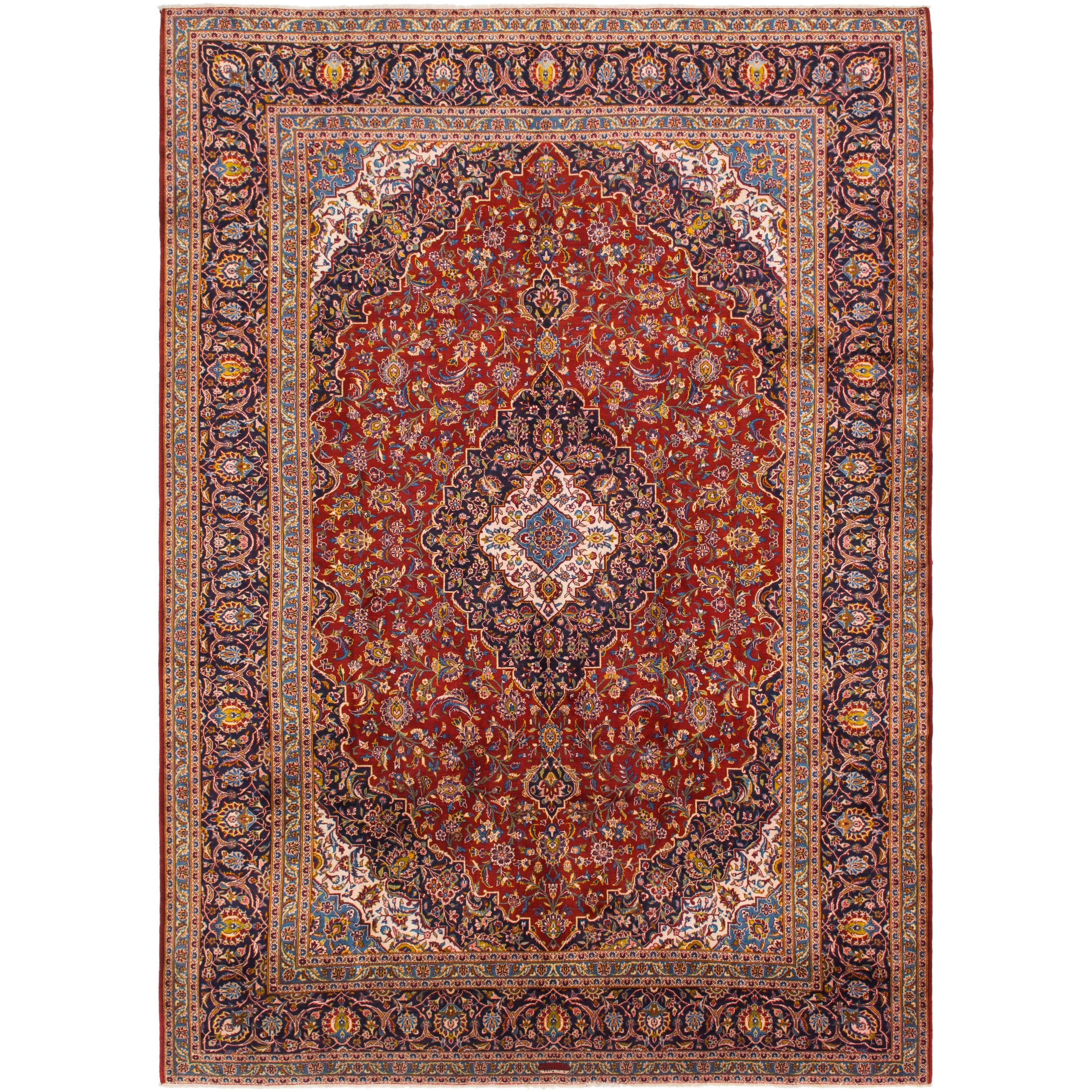 Hand Knotted Kashan Wool Area Rug - 10 3 x 14 5 (Red - 10 3 x 14 5)