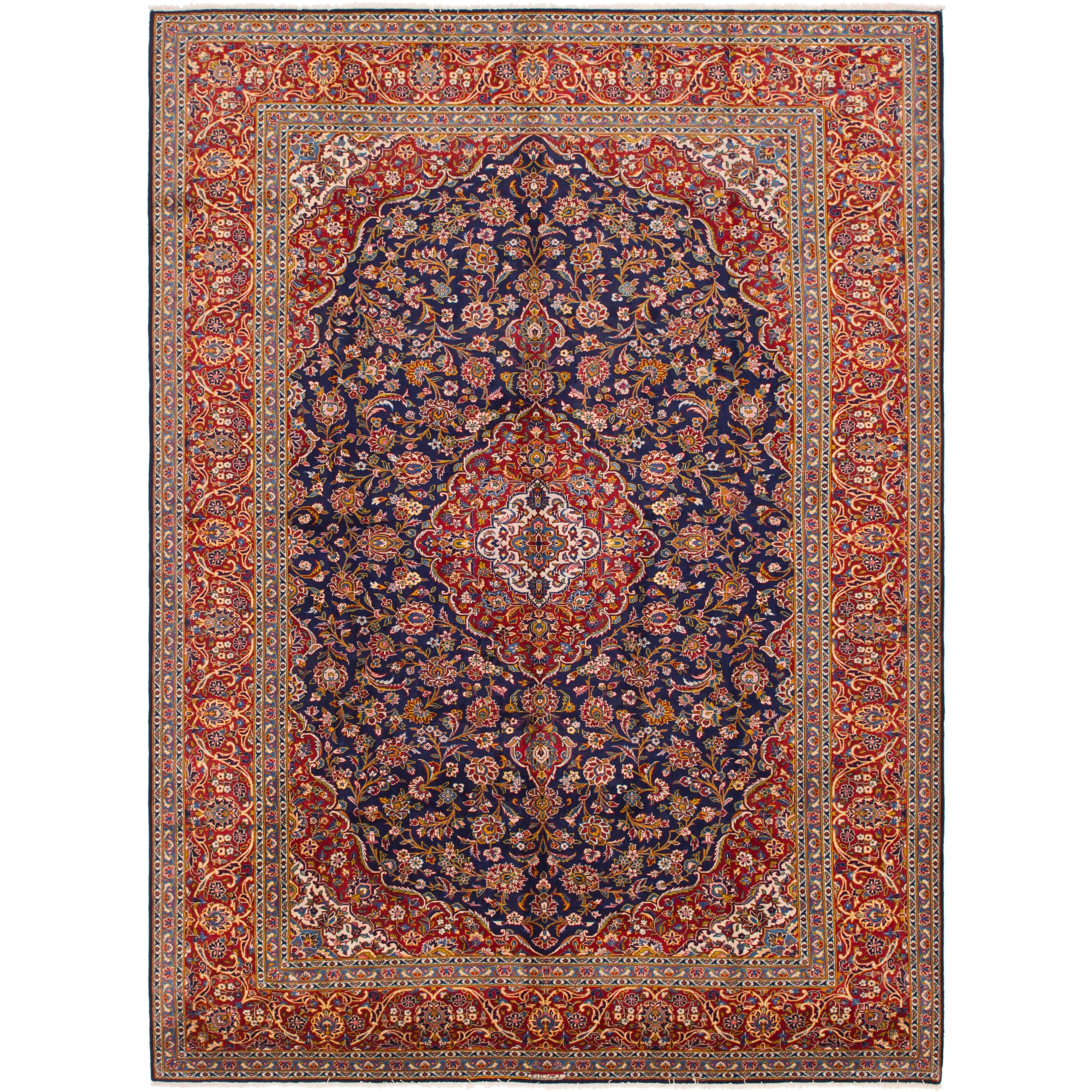 Hand Knotted Kashan Semi Antique Wool Area Rug - 9 10 x 13 4 (Navy blue - 9 10 x 13 4)