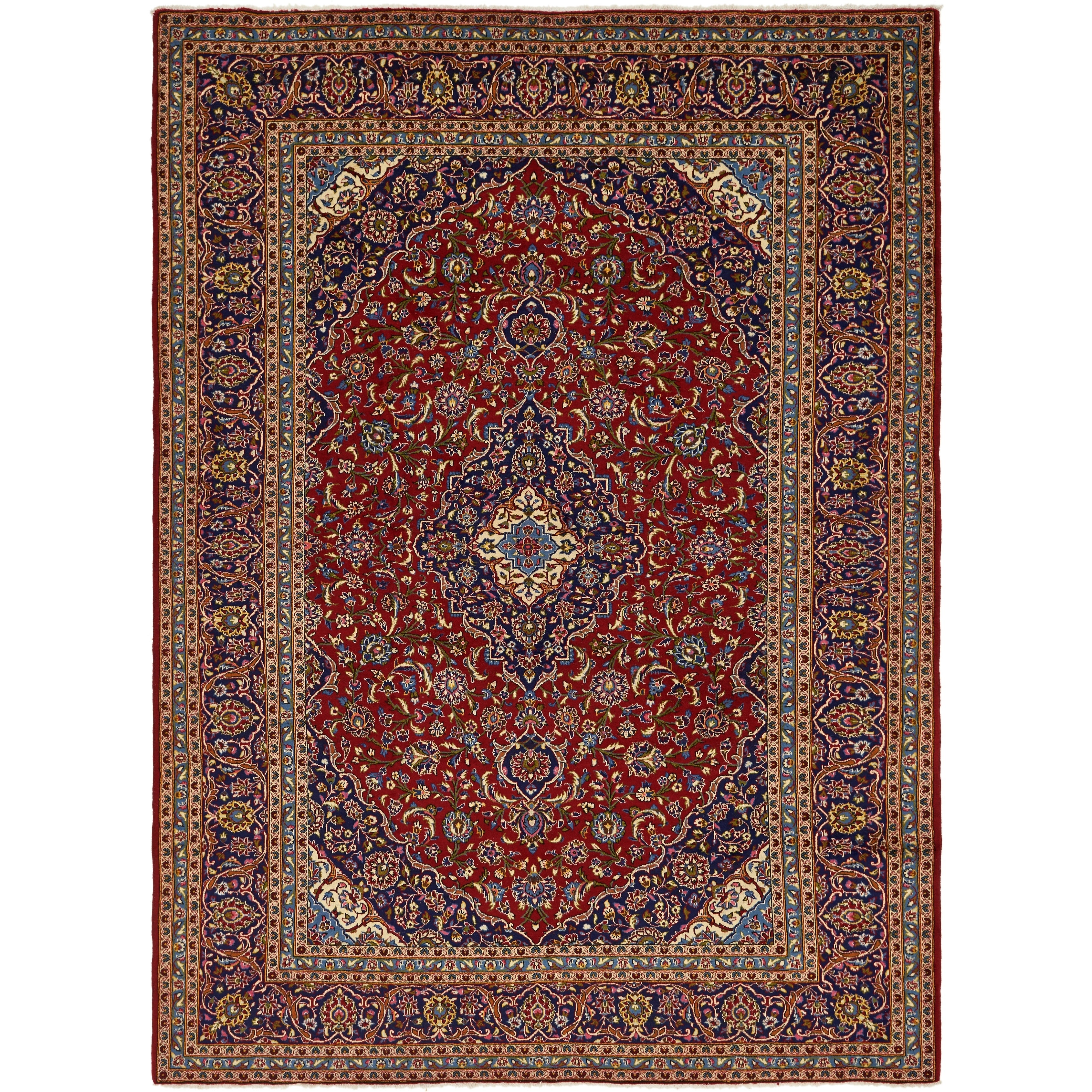 Hand Knotted Kashan Wool Area Rug - 9 8 x 13 4 (Red - 9 8 x 13 4)