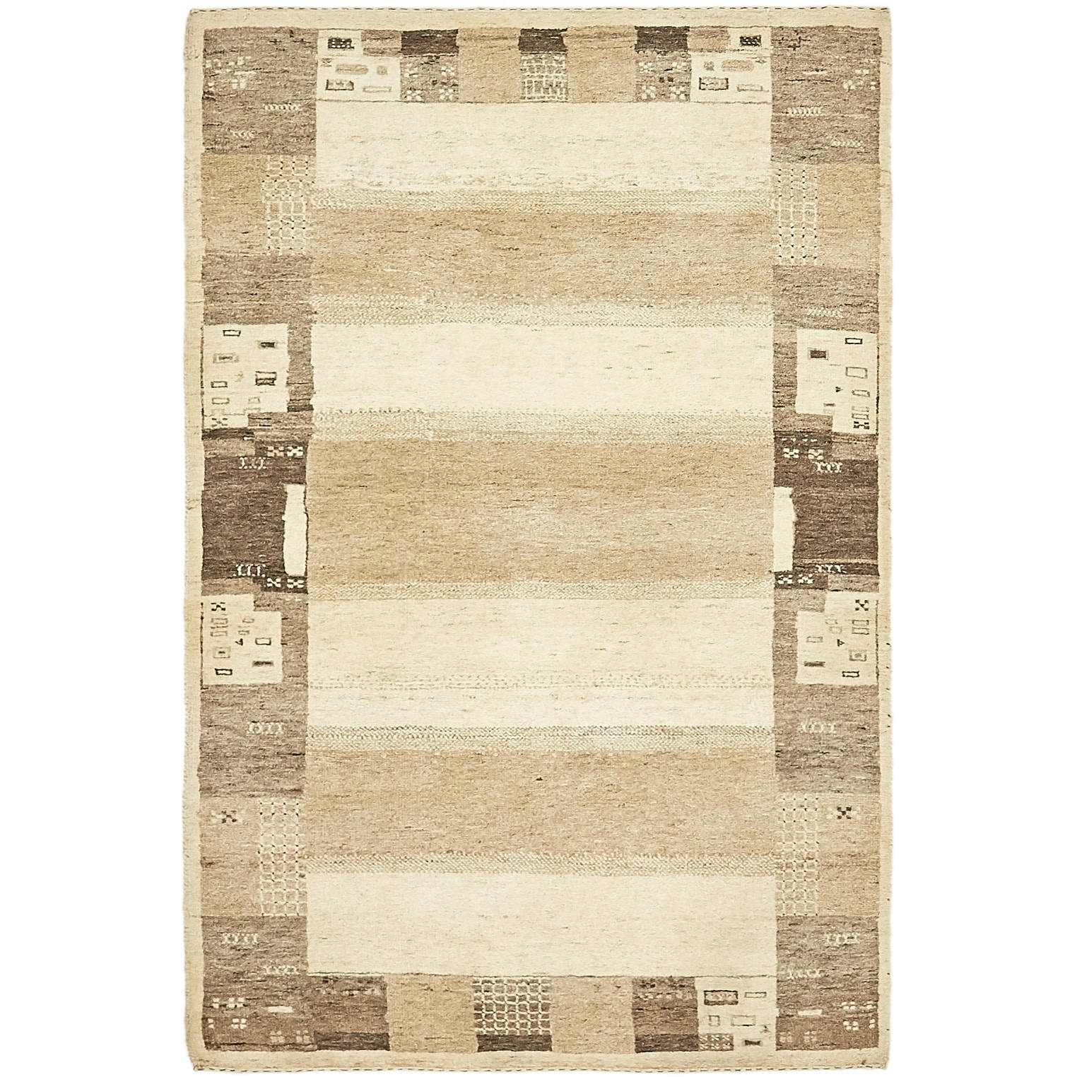 Hand Knotted Kashkuli Gabbeh Wool Area Rug - 3 10 x 6 (Cream - 3 10 x 6)