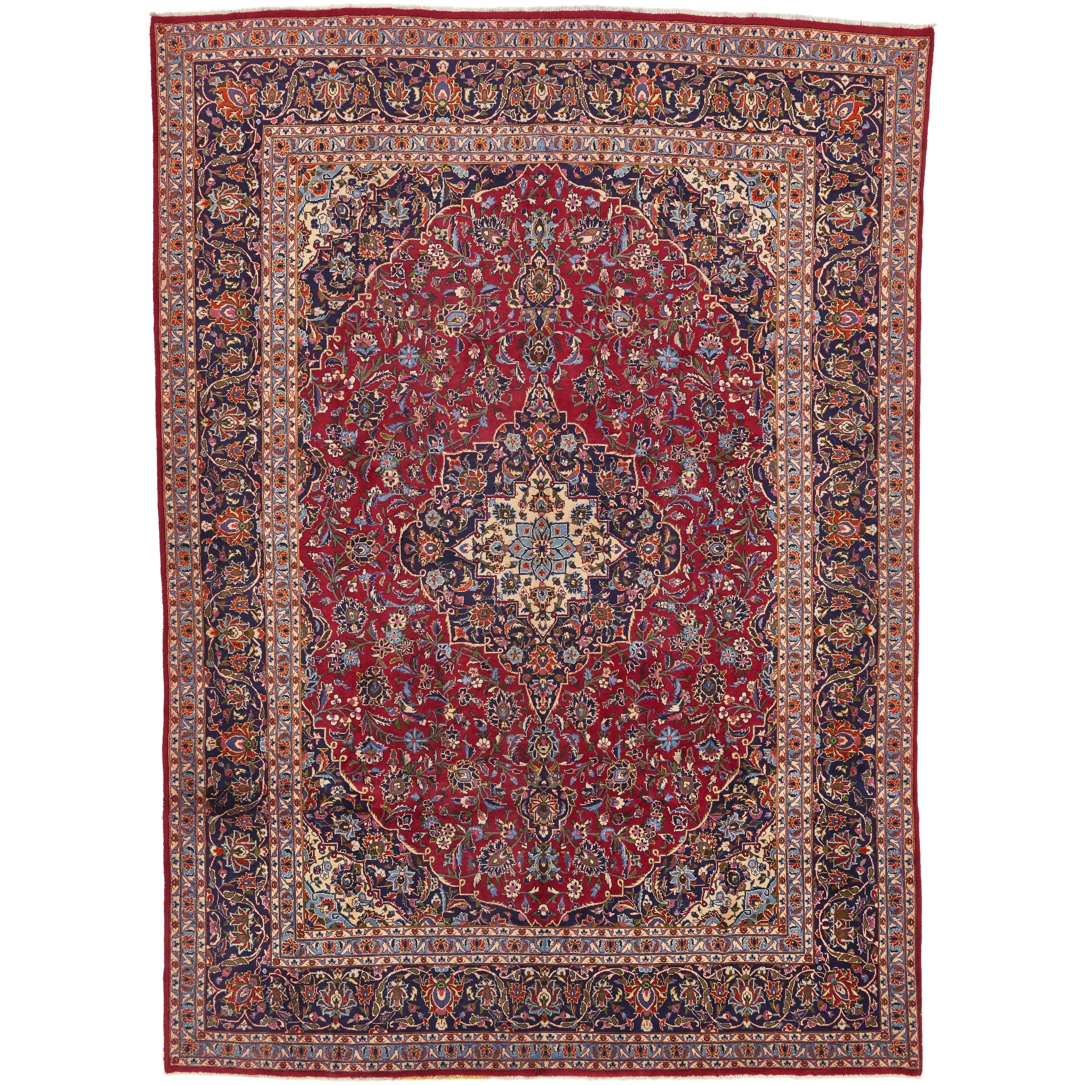 Hand Knotted Kashan Wool Area Rug - 9 6 x 13 (Red - 9 6 x 13)