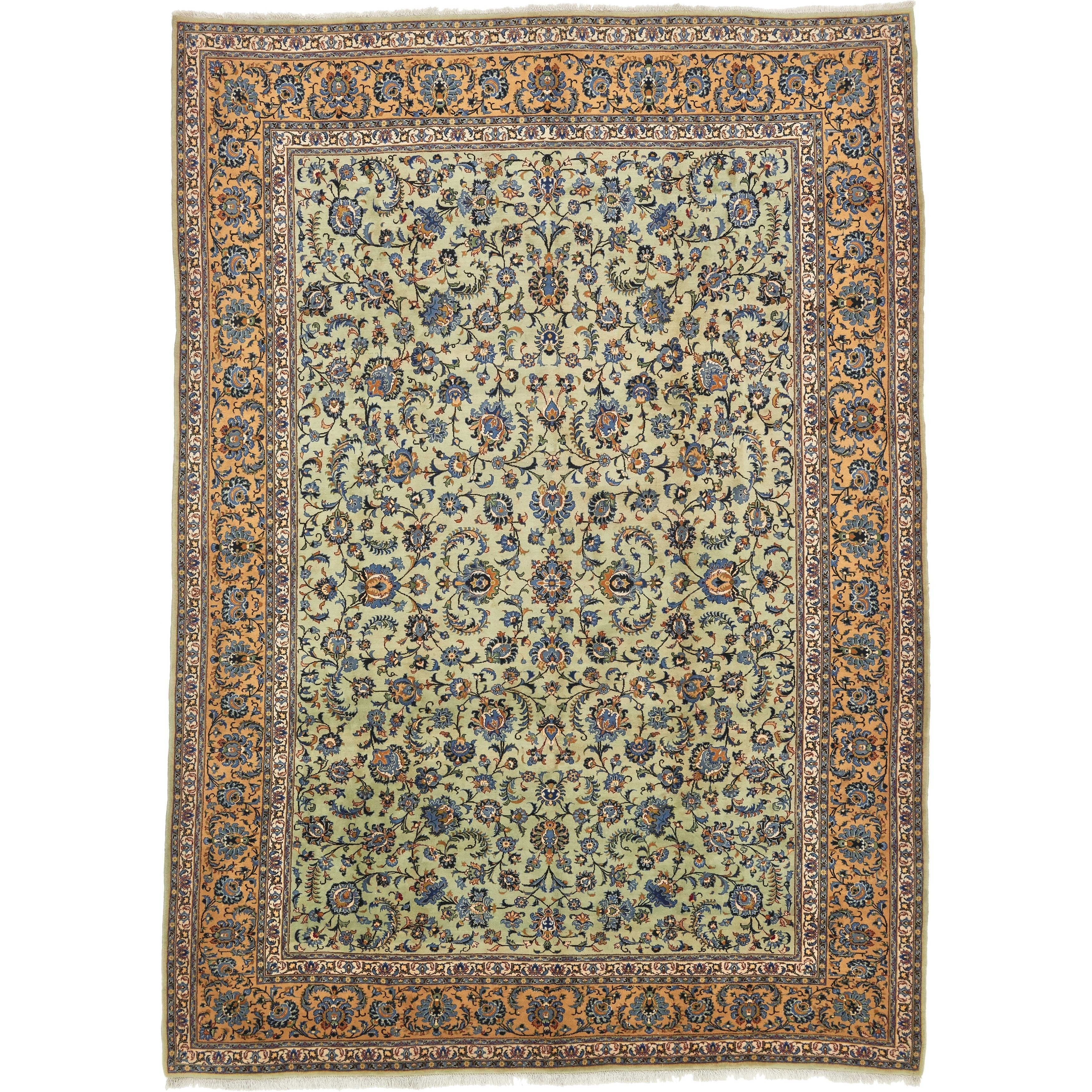 Hand Knotted Kashan Semi Antique Wool Area Rug - 9 10 x 13 9 (LIGHT GREEN - 9 10 x 13 9)
