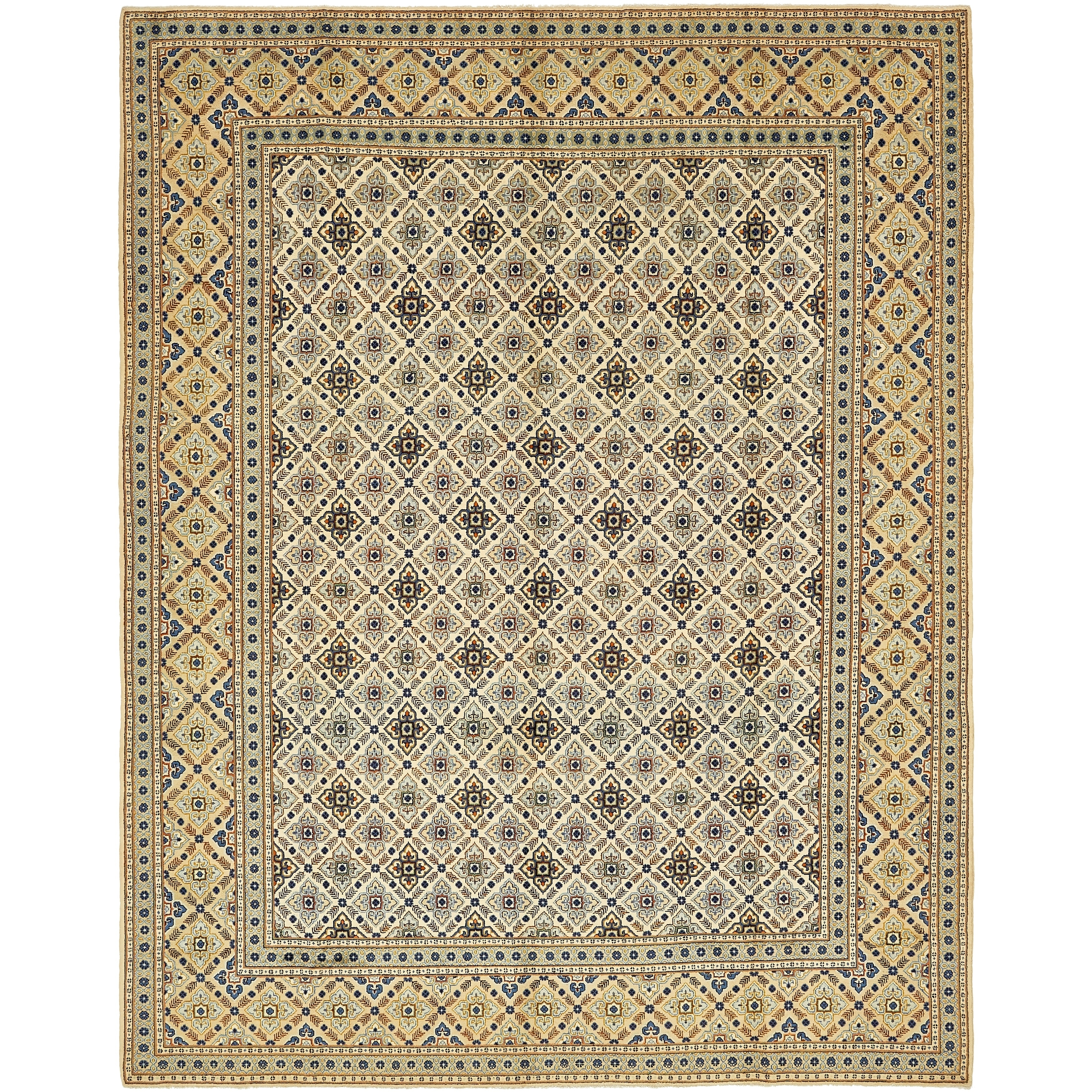 Hand Knotted Kashan Semi Antique Wool Area Rug - 9 10 x 12 5 (Ivory - 9 10 x 12 5)