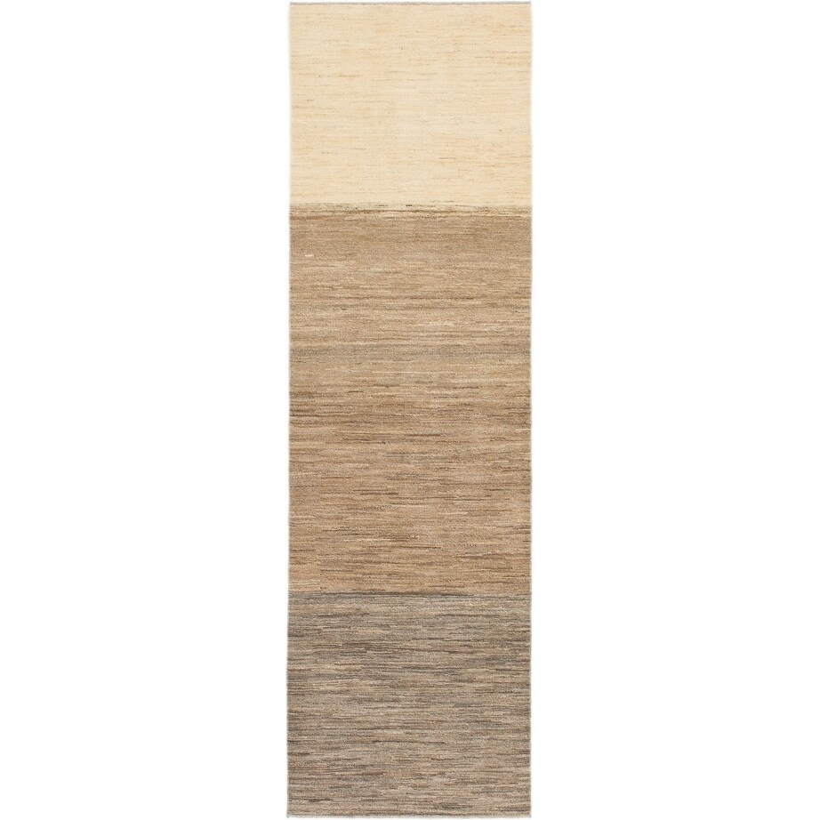 Hand Knotted Kashkuli Gabbeh Wool Runner Rug - 2 9 x 9 2 (Light brown - 2 9 x 9 2)