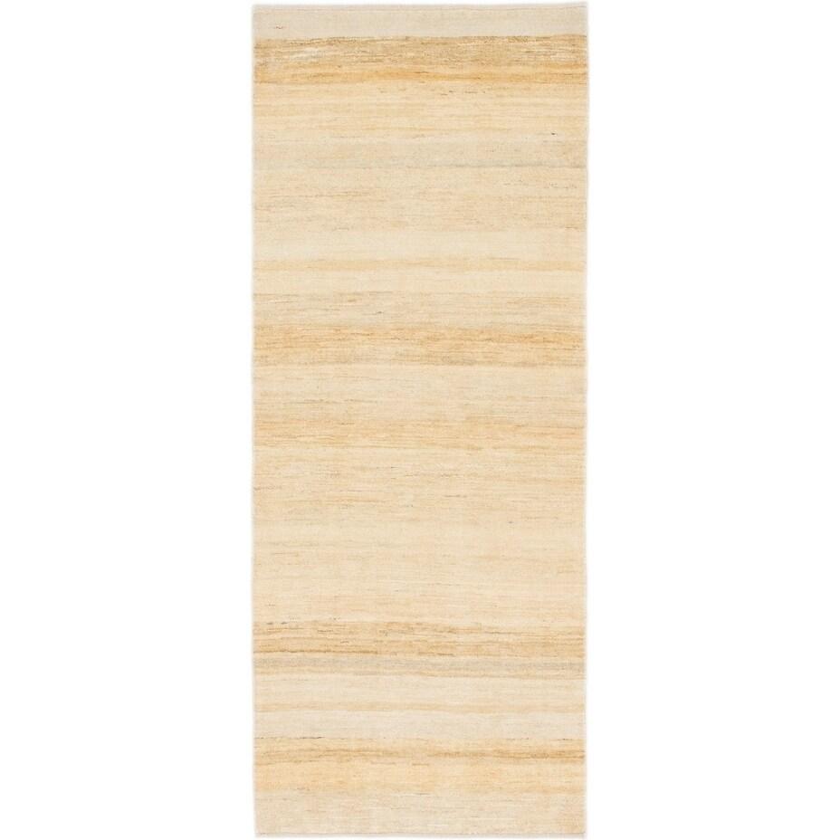 Hand Knotted Kashkuli Gabbeh Wool Runner Rug - 2 9 x 6 10 (Cream - 2 9 x 6 10)