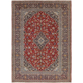 Hand Knotted Kashan Semi Antique Wool Area Rug - 9' 2 x 12' 8