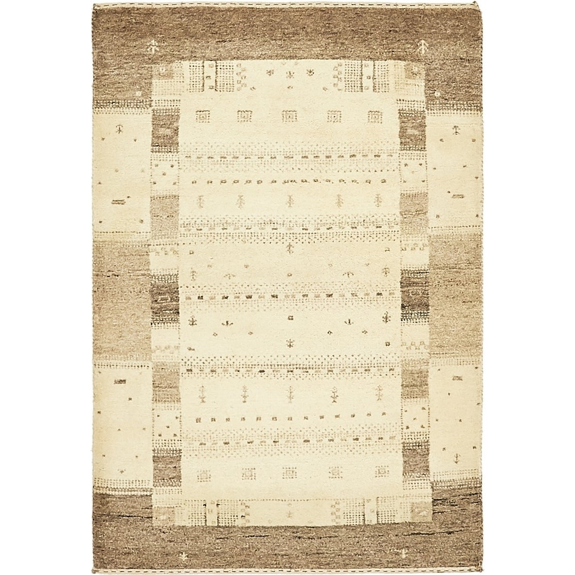 Hand Knotted Kashkuli Gabbeh Wool Area Rug - 3 x 4 4 (Cream - 3 x 4 4)