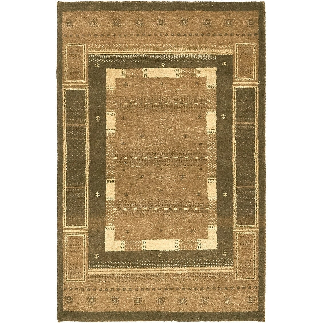 Hand Knotted Kashkuli Gabbeh Wool Area Rug - 3 2 x 4 10 (Brown - 3 2 x 4 10)