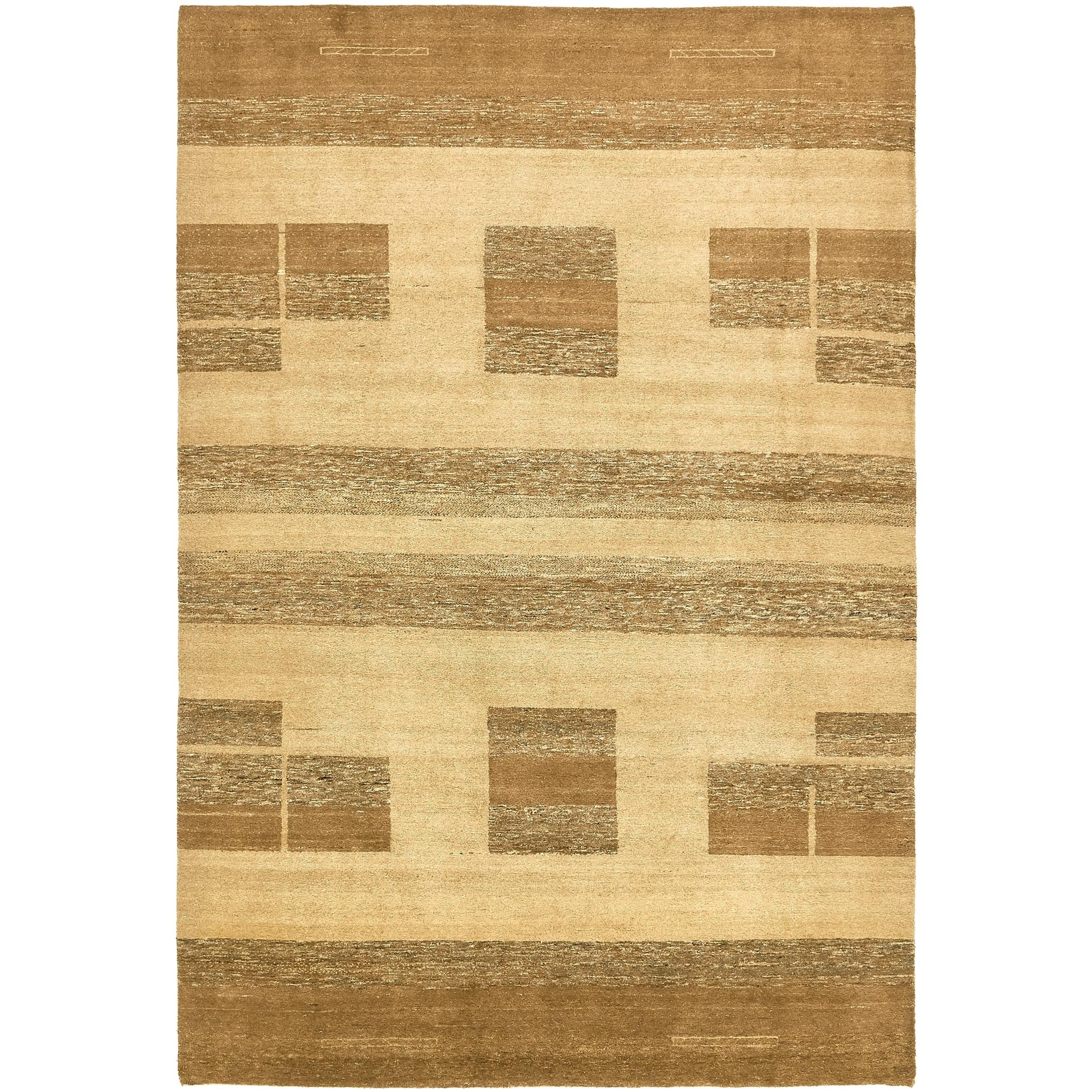 Hand Knotted Kashkuli Gabbeh Wool Area Rug - 6 8 x 9 10 (Beige - 6 8 x 9 10)