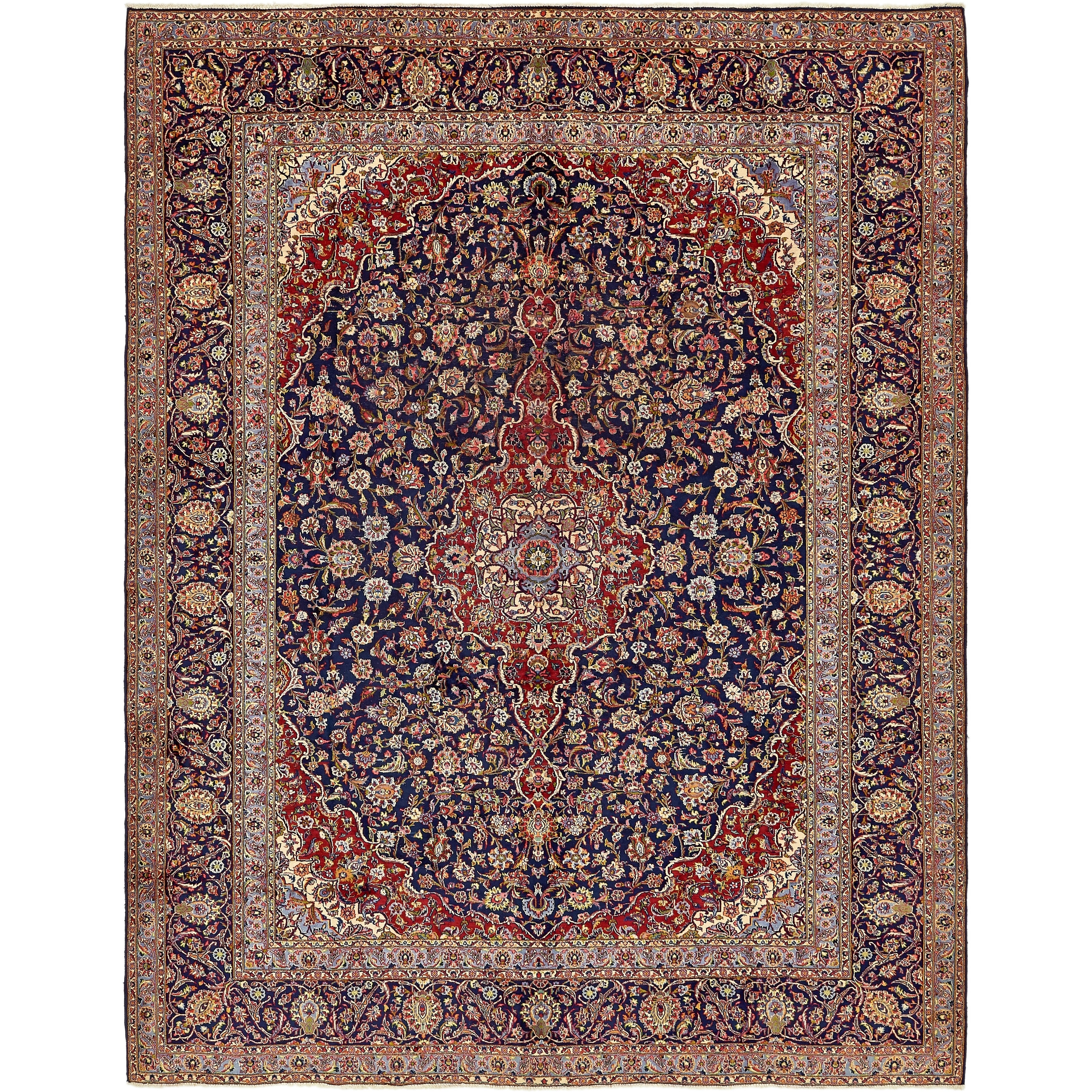 Hand Knotted Kashan Semi Antique Wool Area Rug - 9 10 x 12 7 (Navy blue - 9 10 x 12 7)
