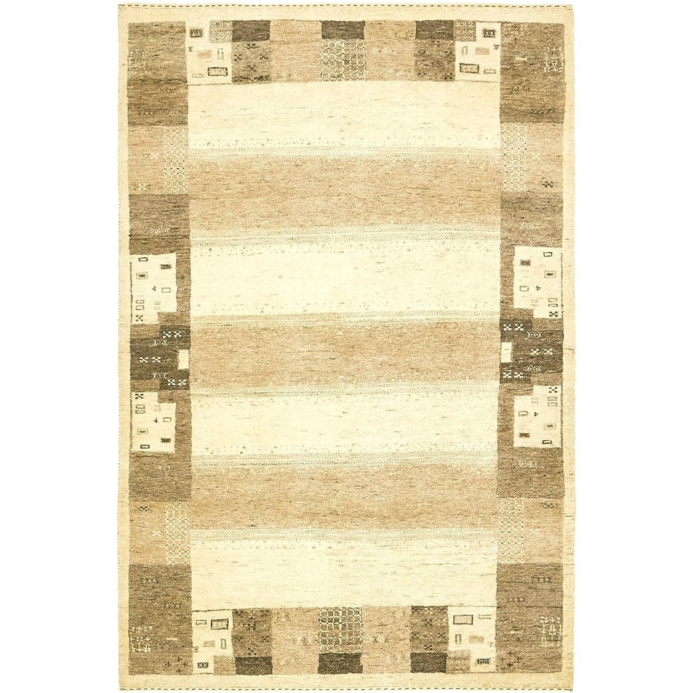Hand Knotted Kashkuli Gabbeh Wool Area Rug - 4 x 5 9 (Cream - 4 x 5 9)