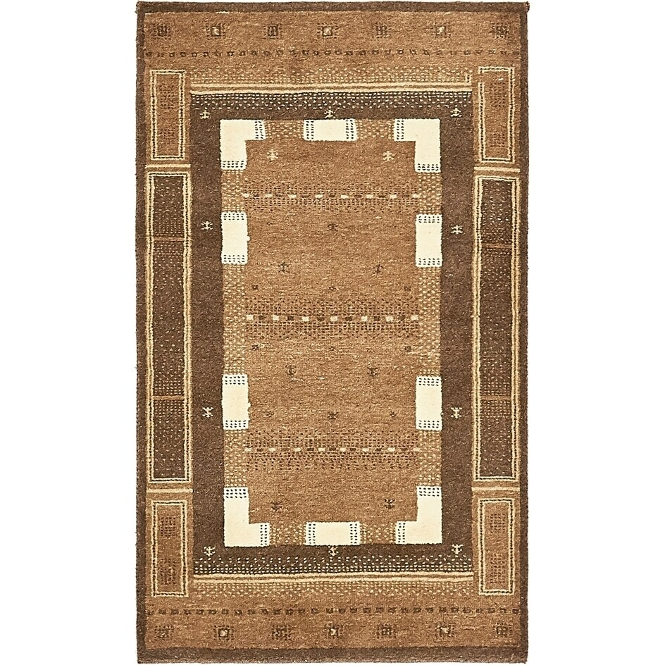Hand Knotted Kashkuli Gabbeh Wool Area Rug - 2 5 x 4 2 (Brown - 2 5 x 4 2)