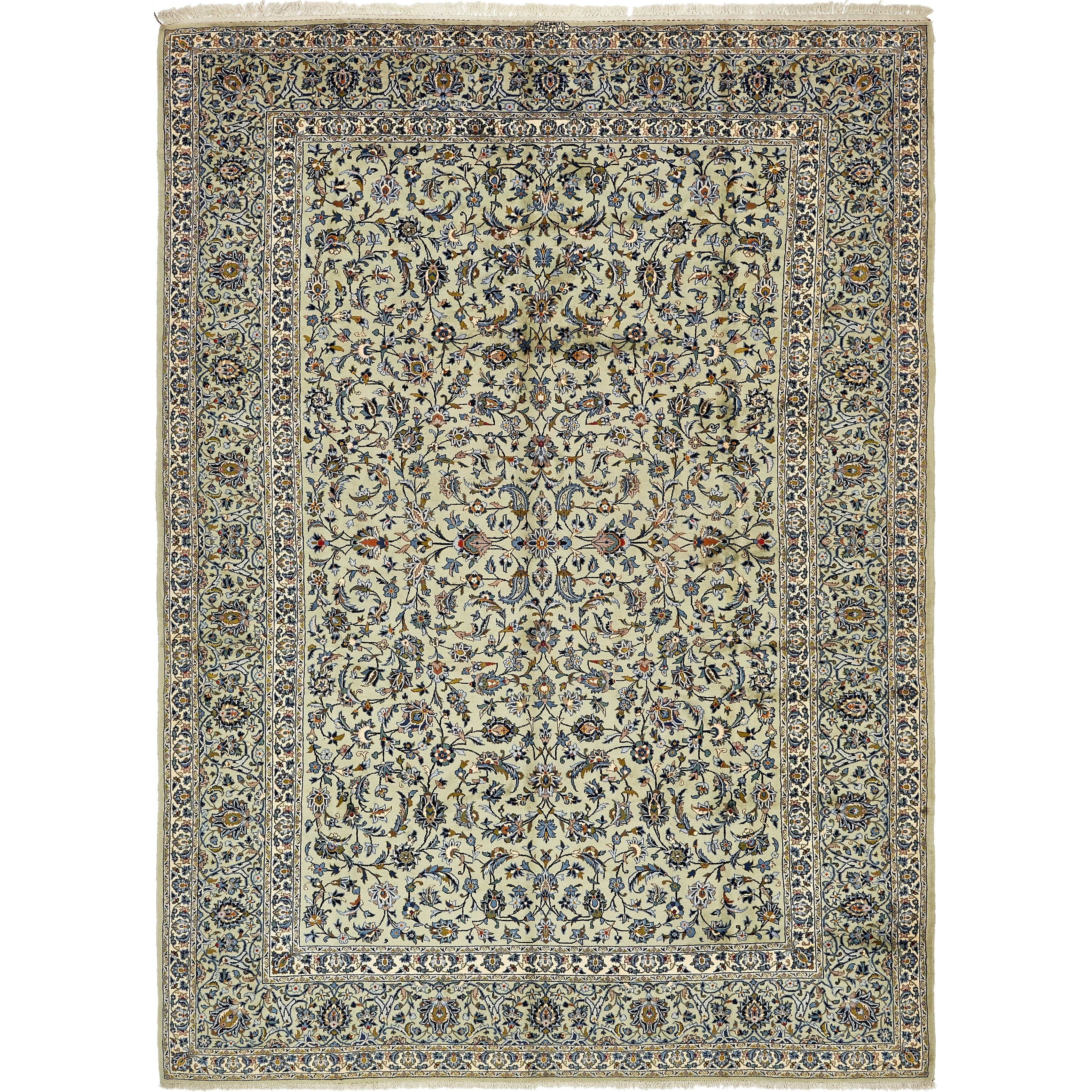 Hand Knotted Kashan Semi Antique Wool Area Rug - 9 x 12 10 (Green - 9 x 12 10)