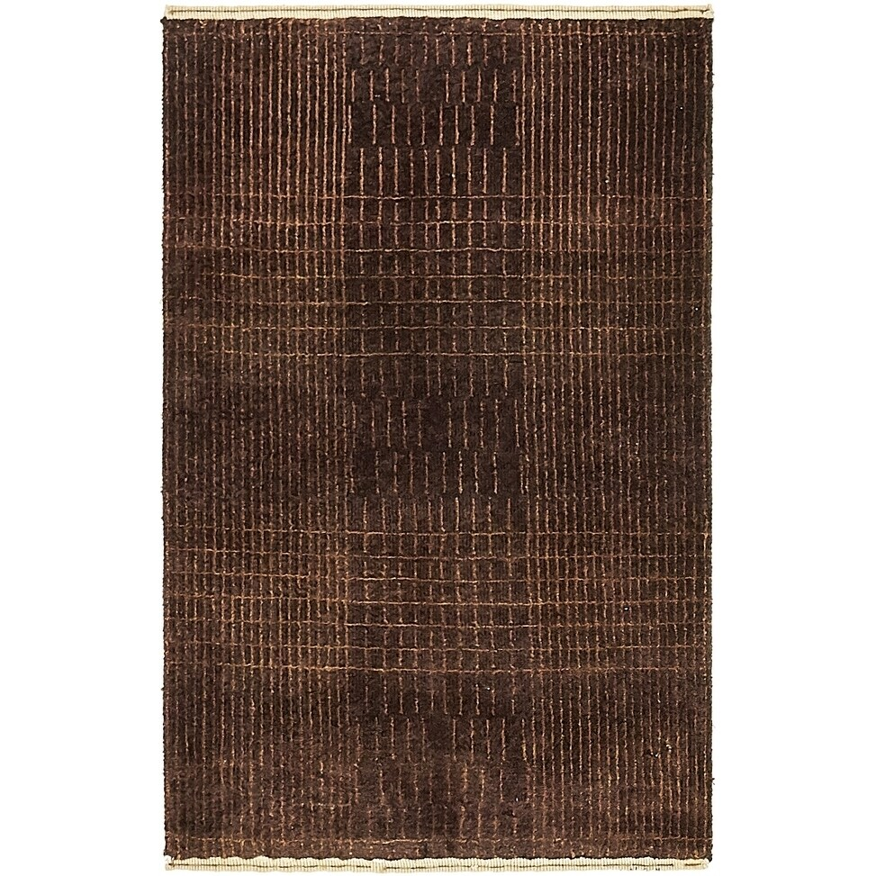 Hand Knotted Kashkuli Gabbeh Silk & Wool Area Rug - 2 6 x 4 (Brown - 2 6 x 4)