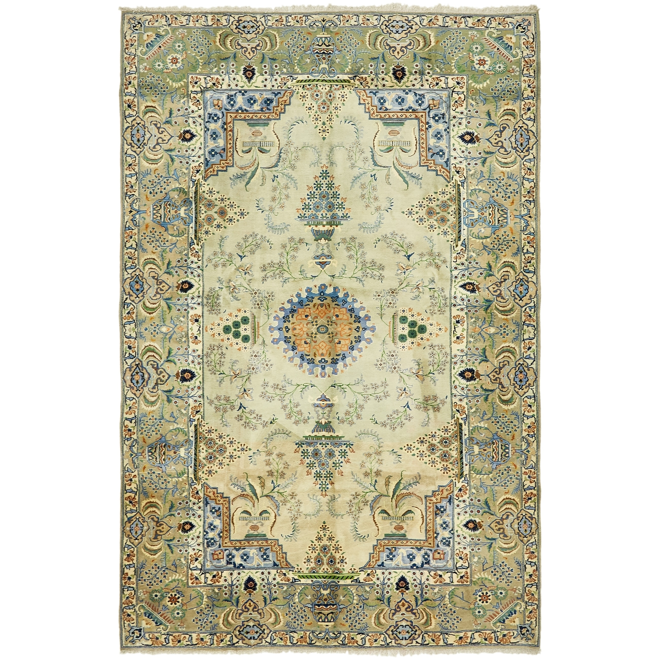 Hand Knotted Kashan Semi Antique Wool Area Rug - 6 10 x 10 8 (LIGHT GREEN - 6 10 x 10 8)