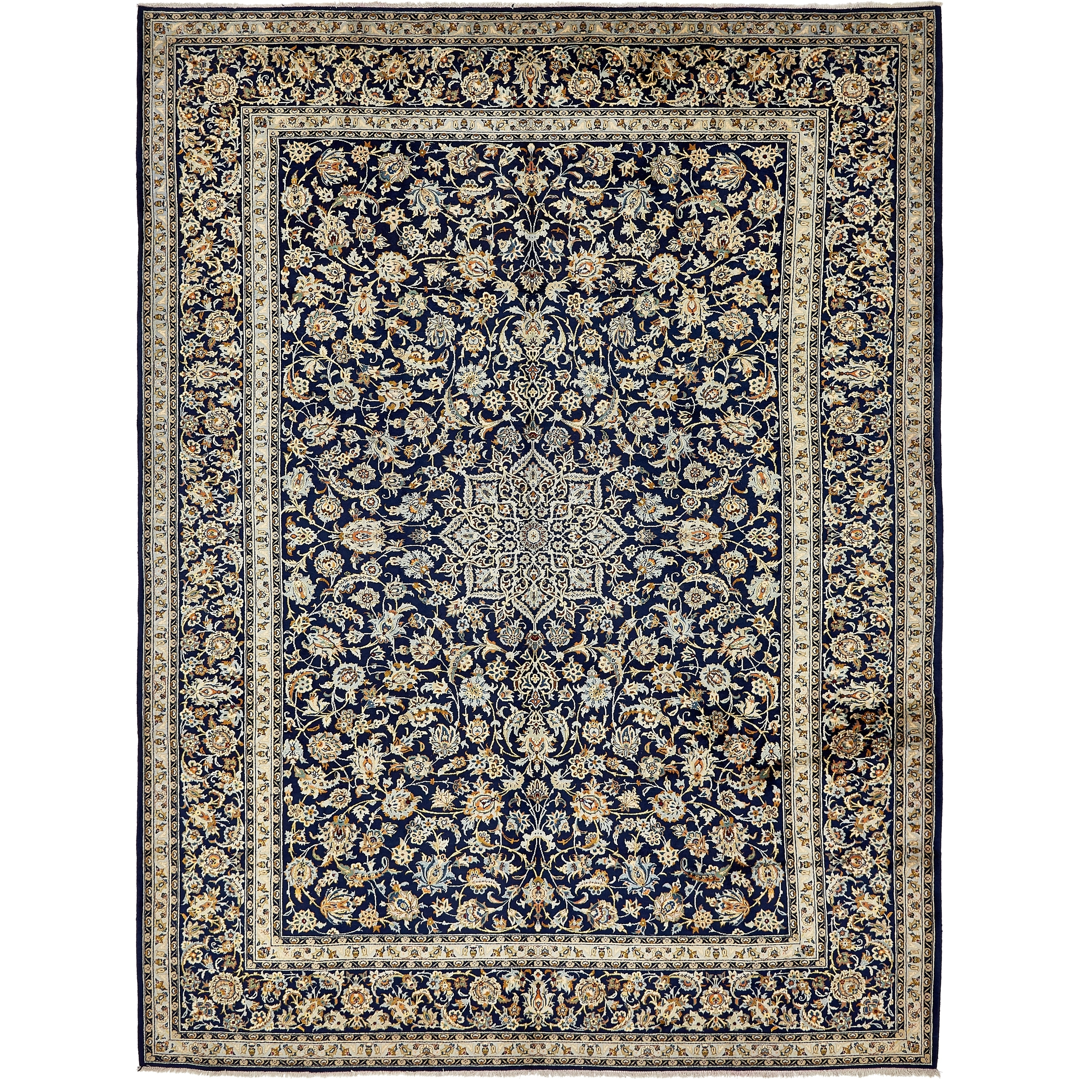 Hand Knotted Kashan Semi Antique Wool Area Rug - 10 x 13 5 (Navy blue - 10 x 13 5)