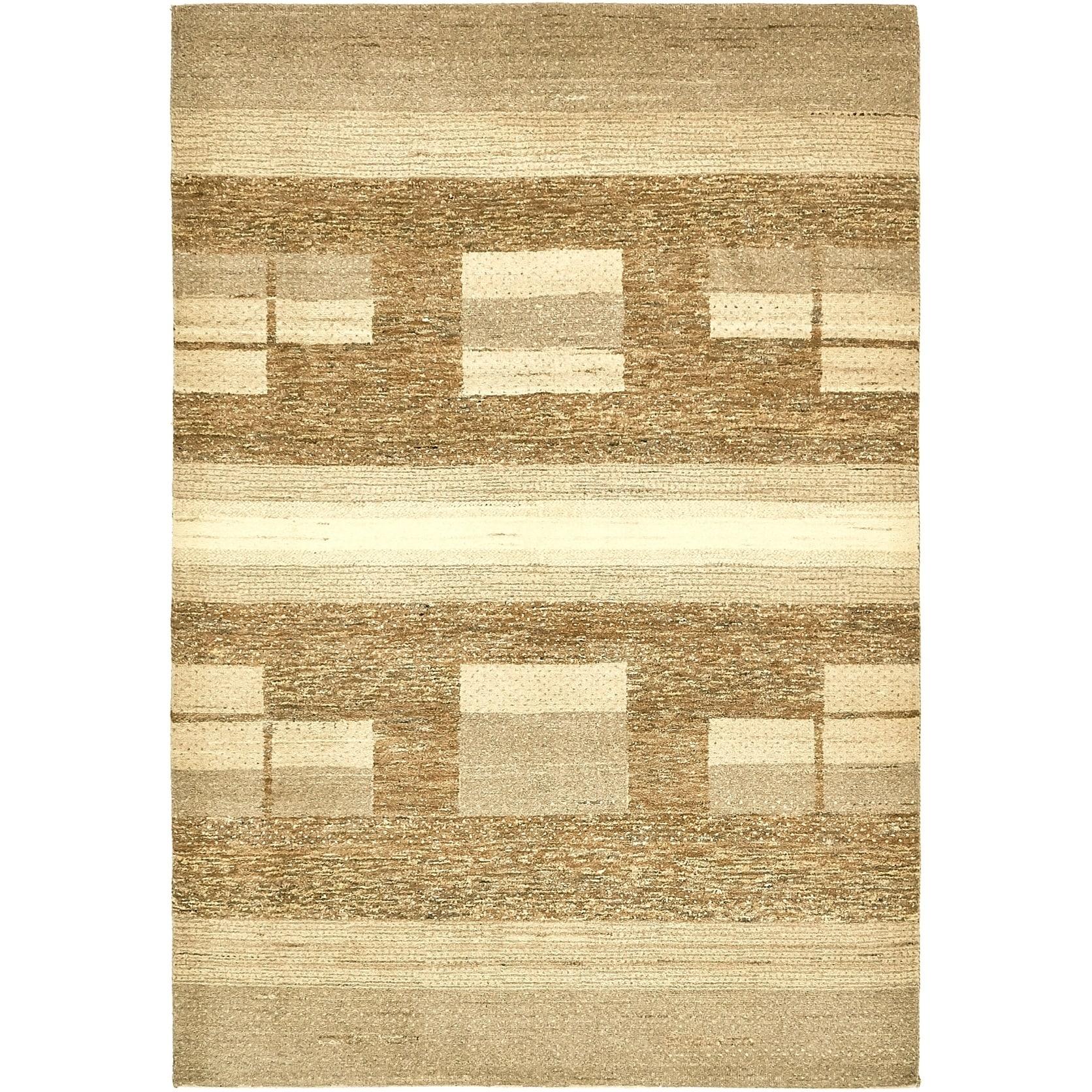 Hand Knotted Kashkuli Gabbeh Wool Area Rug - 4 8 x 6 9 (Beige - 4 8 x 6 9)