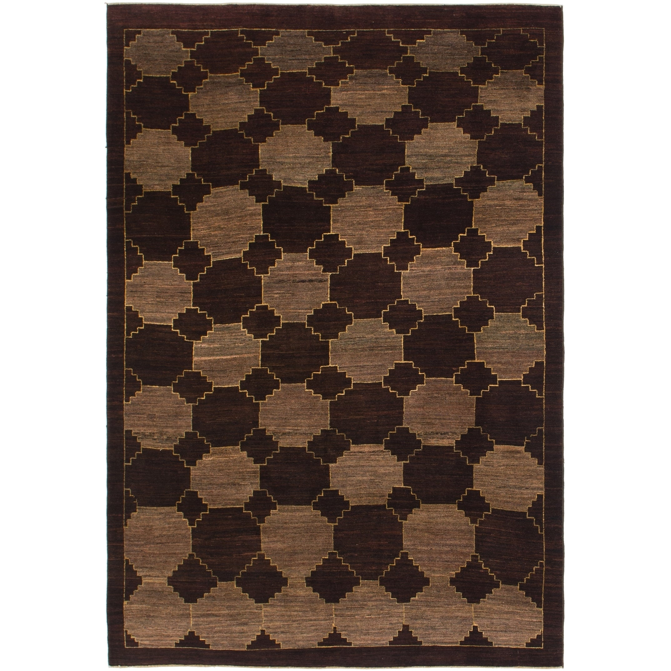 Hand Knotted Kashkuli Gabbeh Wool Area Rug - 6 x 9 (Burgundy - 6 x 9)