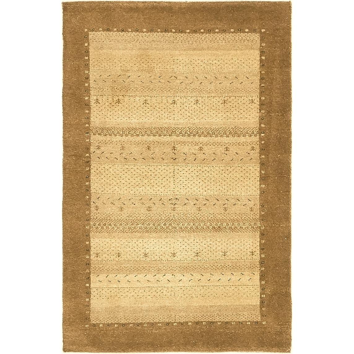 Hand Knotted Kashkuli Gabbeh Wool Area Rug - 3 2 x 5 (Beige - 3 2 x 5)