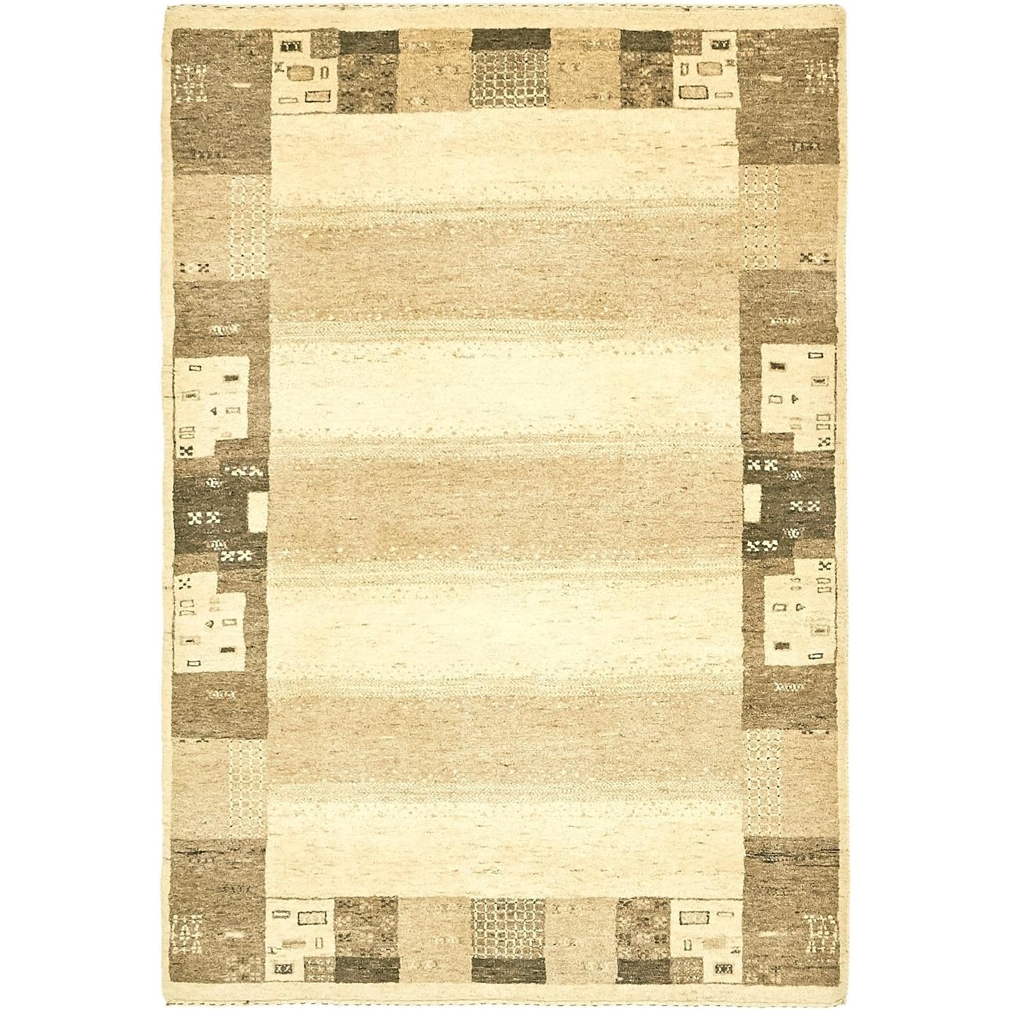 Hand Knotted Kashkuli Gabbeh Wool Area Rug - 4 x 5 9 (Beige - 4 x 5 9)