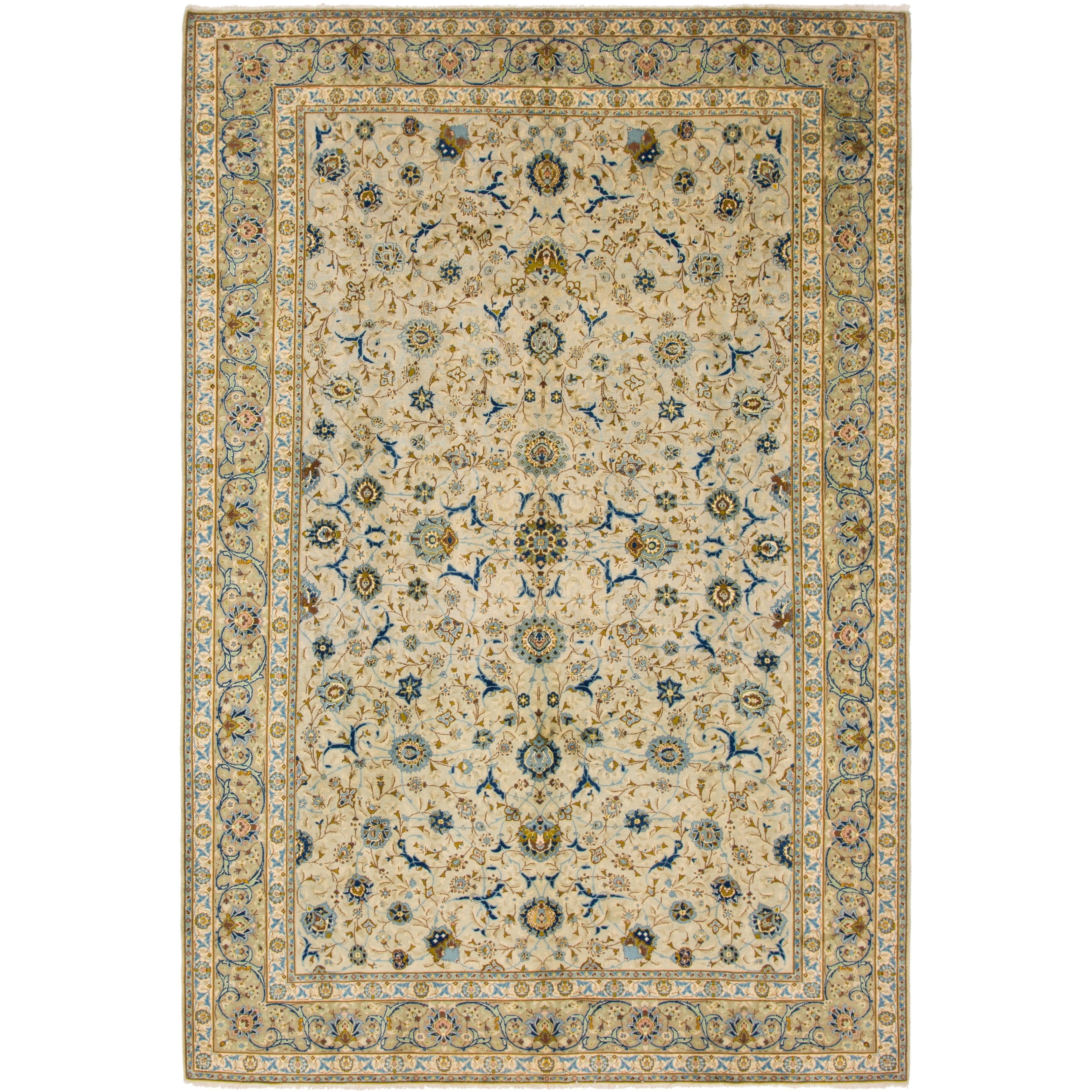 Hand Knotted Kashan Semi Antique Wool Area Rug - 8 6 x 12 9 (Beige - 8 6 x 12 9)