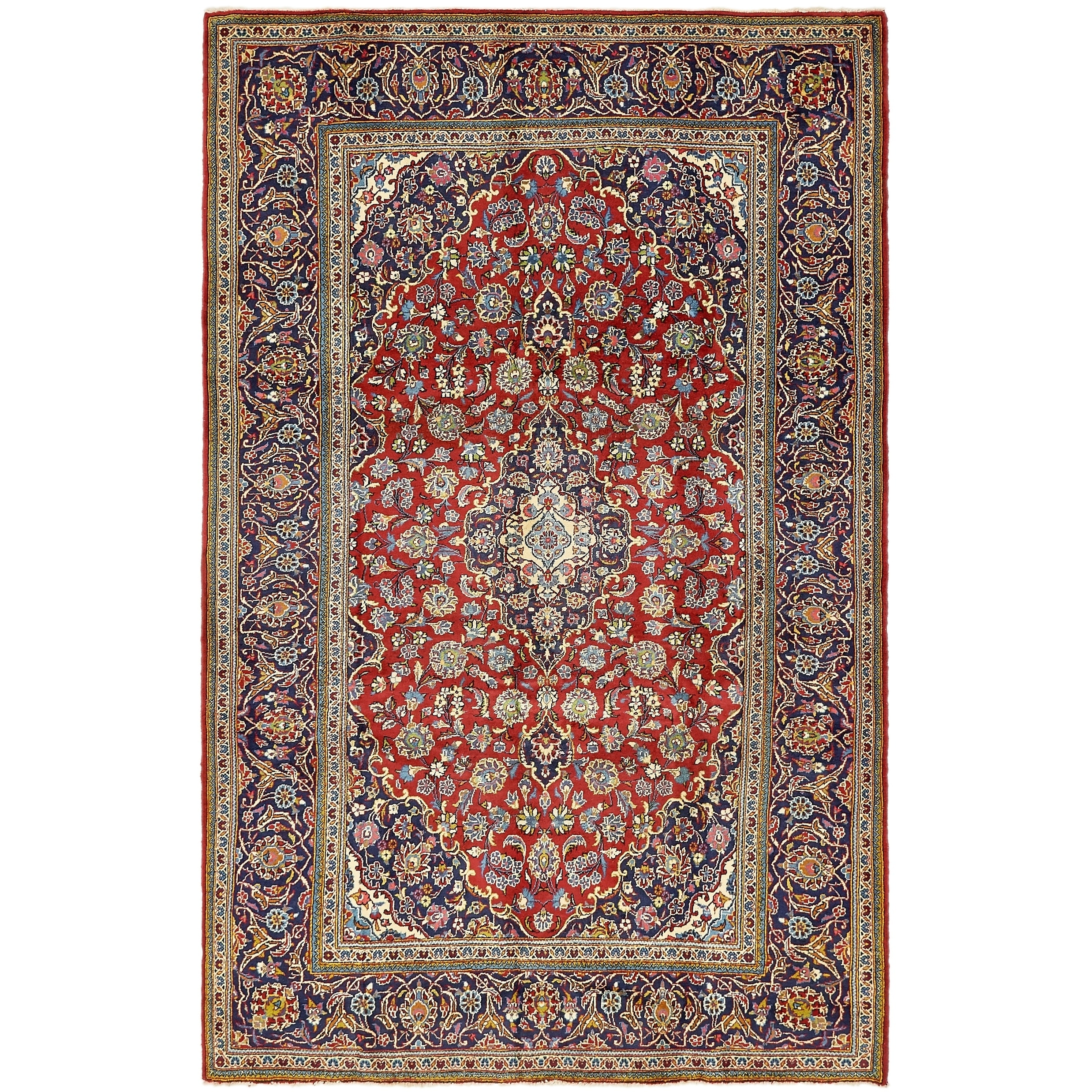 Hand Knotted Kashan Semi Antique Wool Area Rug - 6 6 x 10 4 (Red - 6 6 x 10 4)