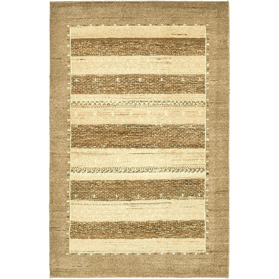 Hand Knotted Kashkuli Gabbeh Wool Area Rug - 3 2 x 4 10 (gray - 3 2 x 4 10)