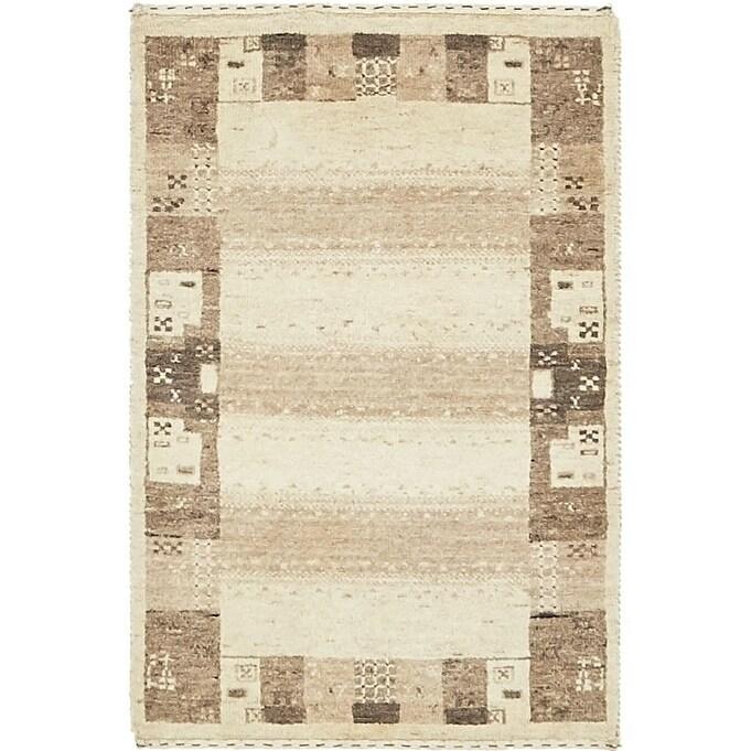 Hand Knotted Kashkuli Gabbeh Wool Area Rug - 1 10 x 2 10 (Beige - 1 10 x 2 10)