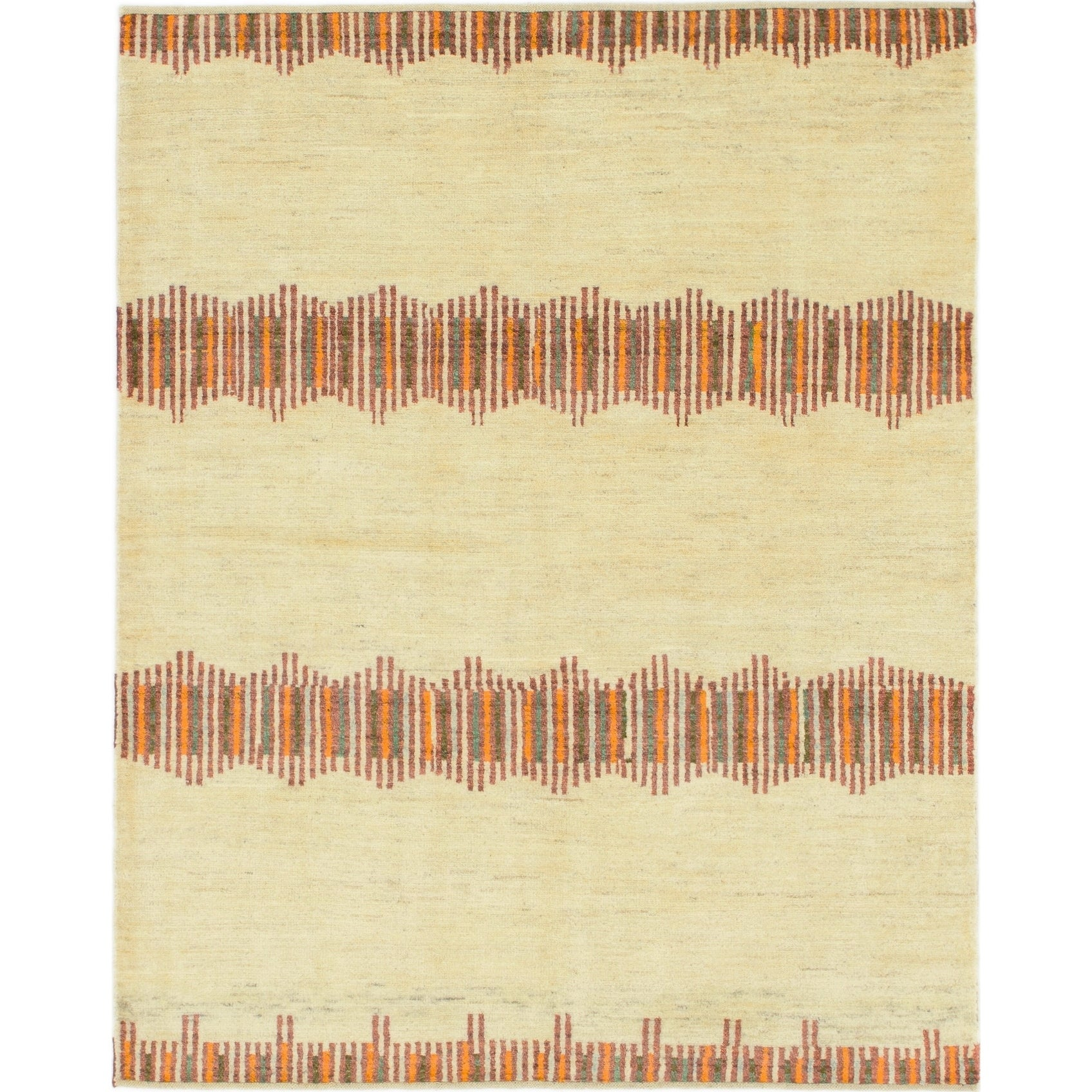 Hand Knotted Kashkuli Gabbeh Wool Area Rug - 5 x 6 5 (Cream - 5 x 6 5)