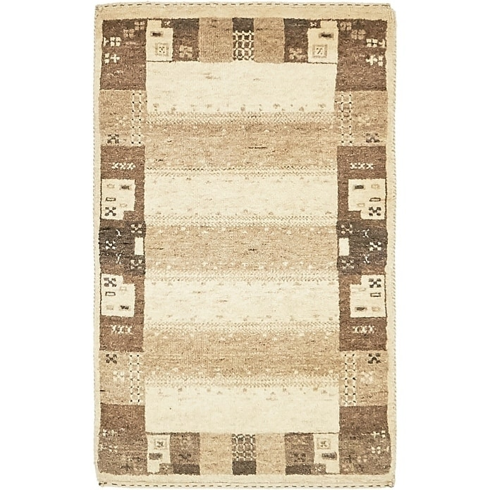 Hand Knotted Kashkuli Gabbeh Wool Area Rug - 2 10 x 3 (Cream - 2 10 x 3)