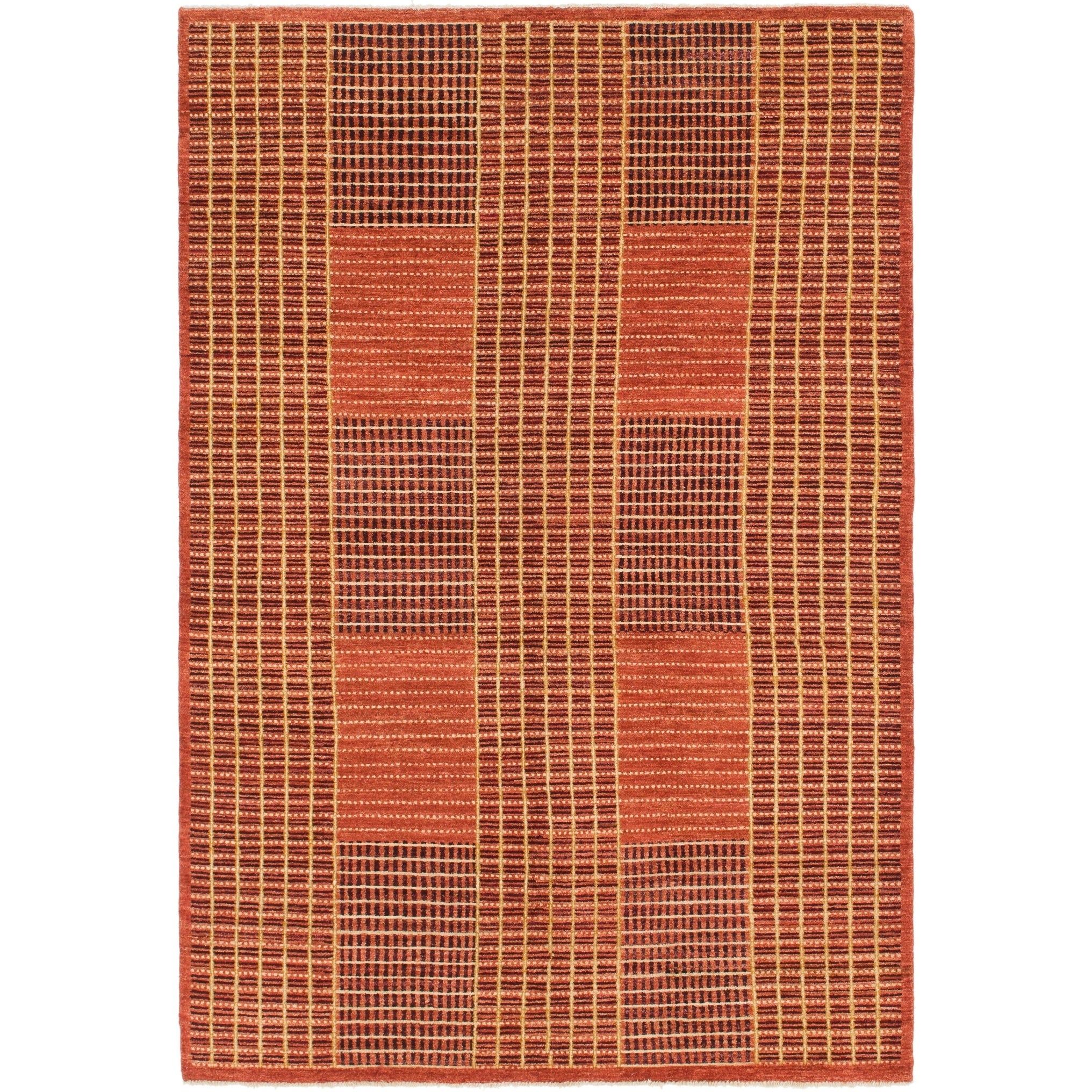 Hand Knotted Kashkuli Gabbeh Wool Area Rug - 5 10 x 8 7 (Rust Red - 5 10 x 8 7)