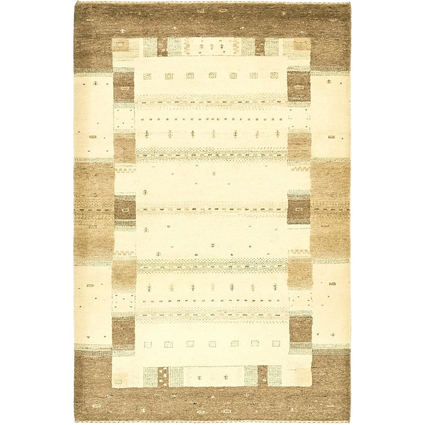 Hand Knotted Kashkuli Gabbeh Wool Area Rug - 4 x 6 2 (Cream - 4 x 6 2)