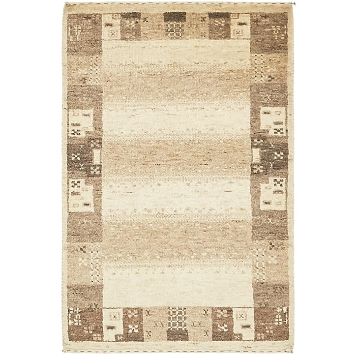 Hand Knotted Kashkuli Gabbeh Wool Area Rug - 2 x 3 (Cream - 2 x 3)
