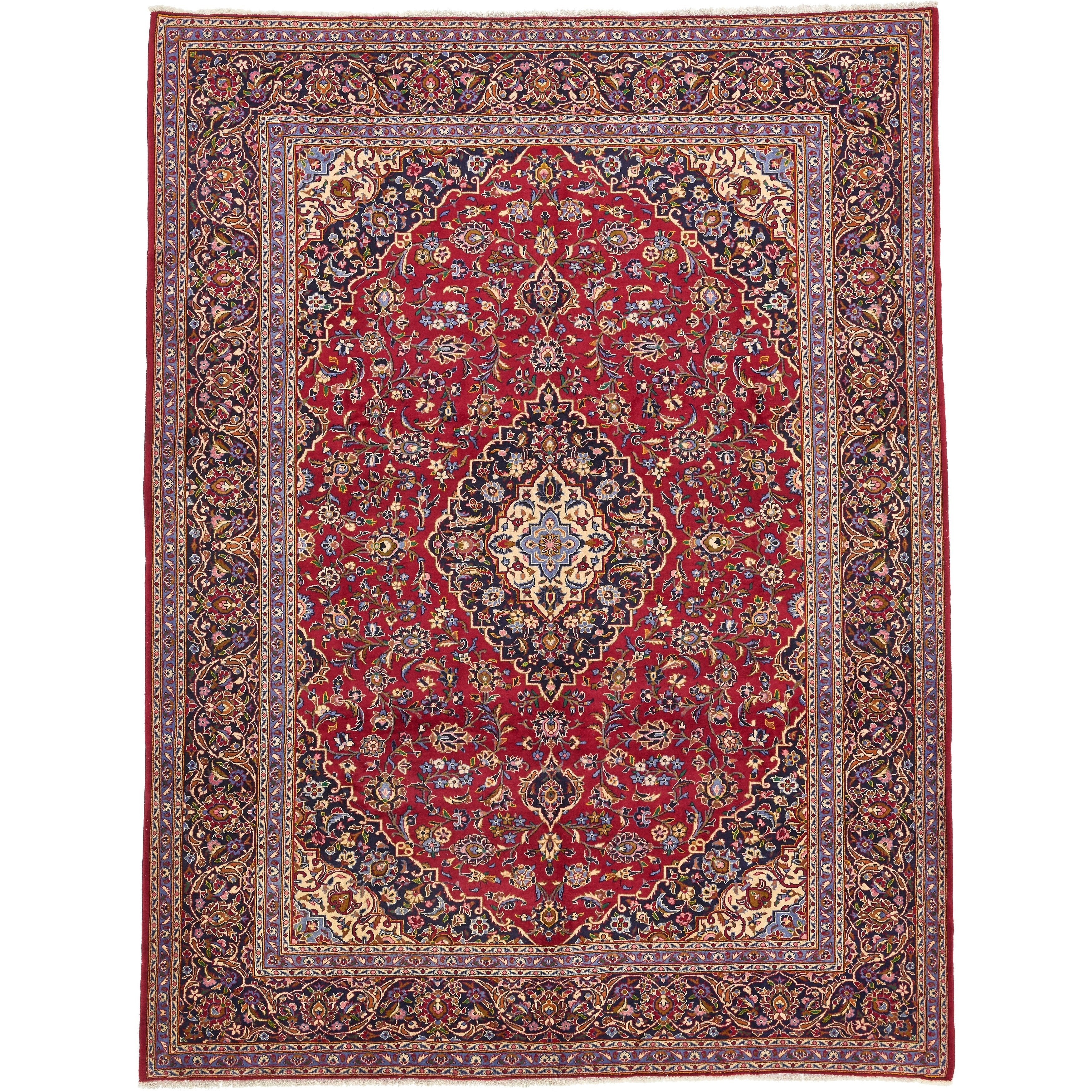 Hand Knotted Kashan Wool Area Rug - 9 7 x 12 8 (Red - 9 7 x 12 8)