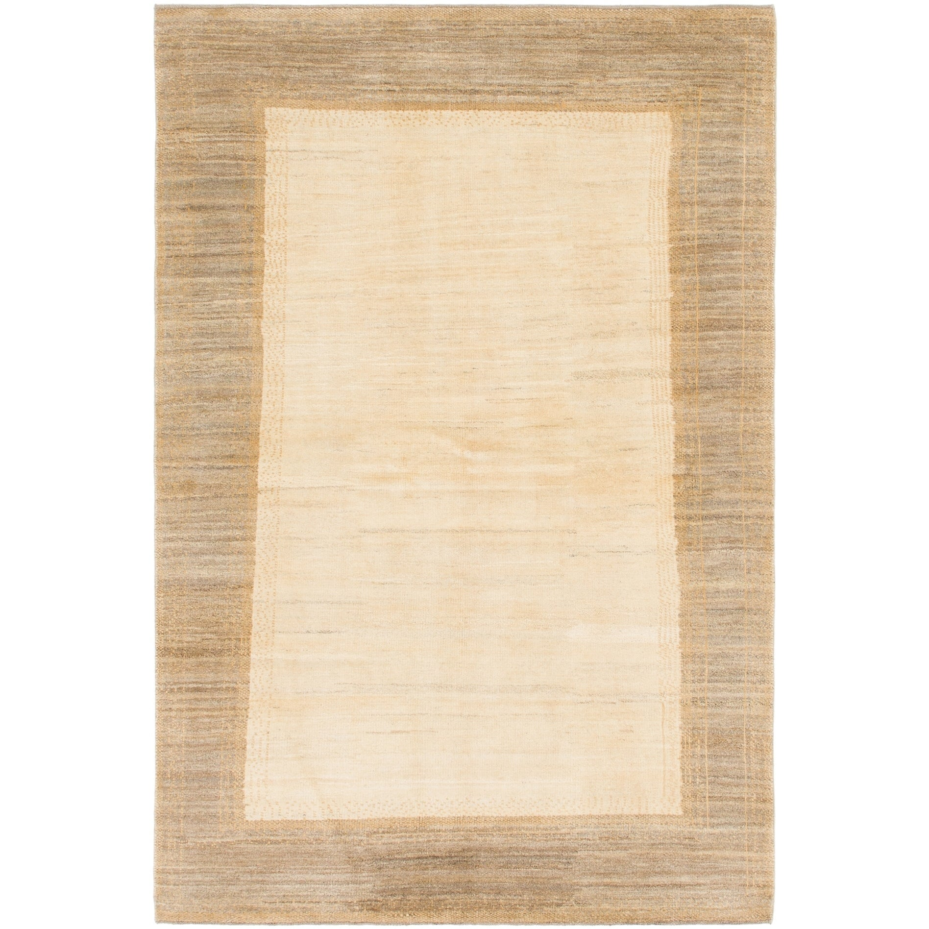 Hand Knotted Kashkuli Gabbeh Wool Area Rug - 5 6 x 8 2 (Cream - 5 6 x 8 2)