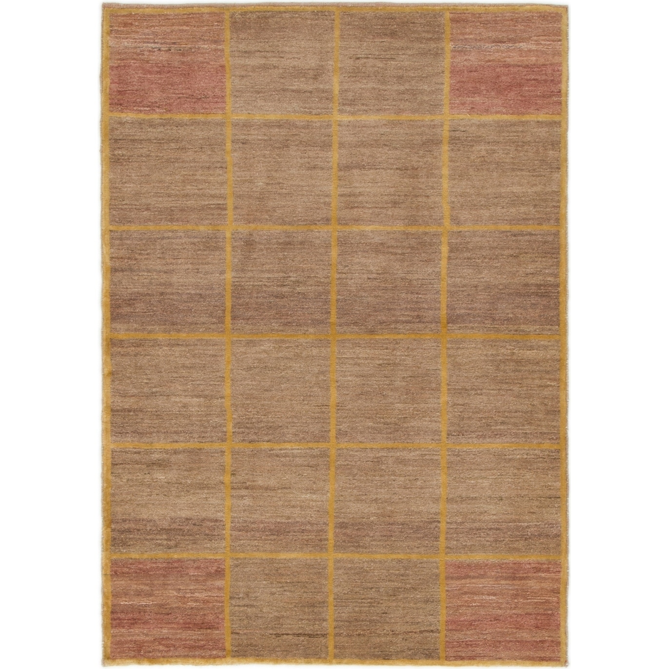 Hand Knotted Kashkuli Gabbeh Wool Area Rug - 3 6 x 5 (Light brown - 3 6 x 5)