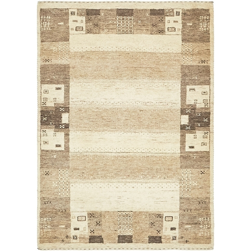 Hand Knotted Kashkuli Gabbeh Wool Area Rug - 2 10 x 4 (Cream - 2 10 x 4)