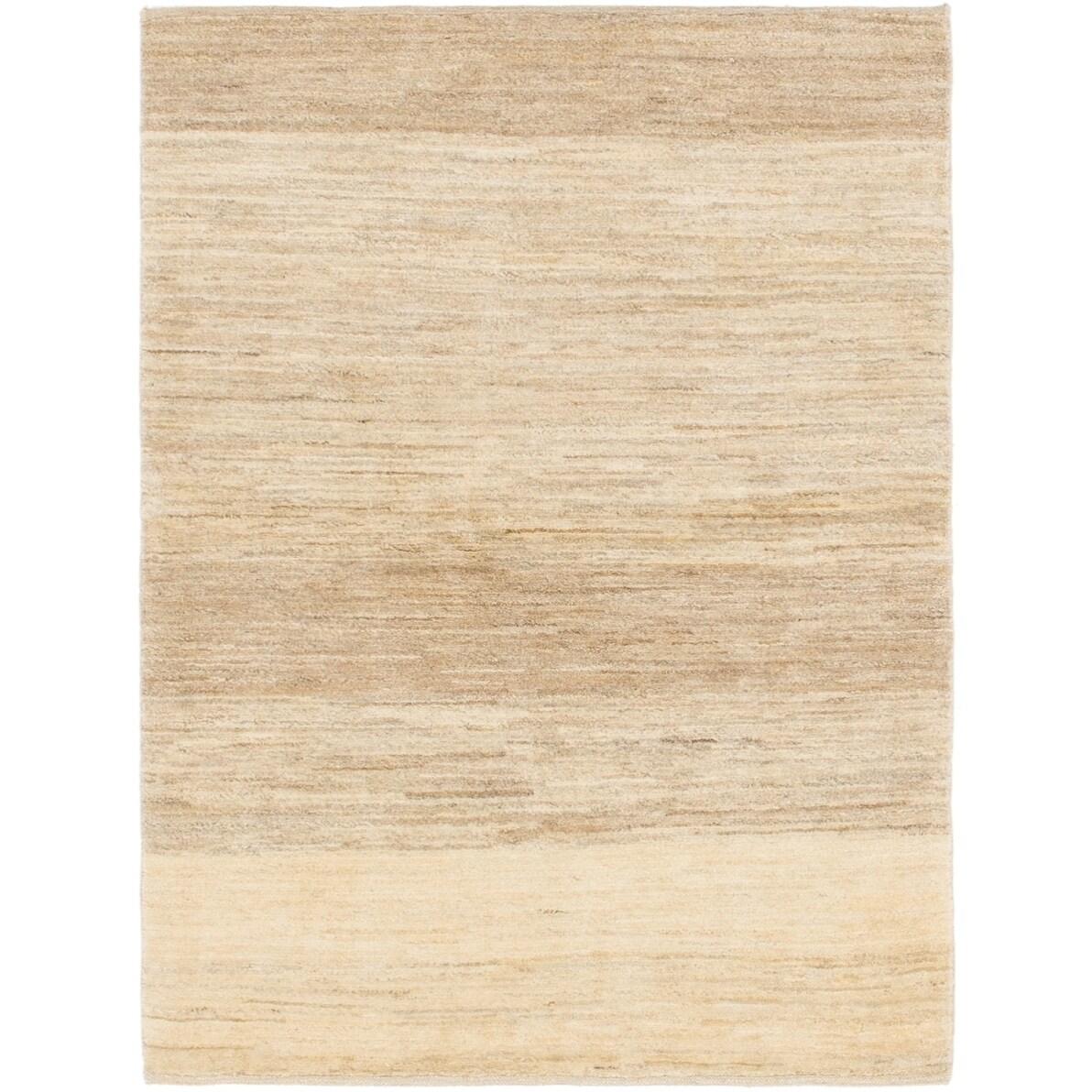 Hand Knotted Kashkuli Gabbeh Wool Area Rug - 3 4 x 4 7 (Cream - 3 4 x 4 7)