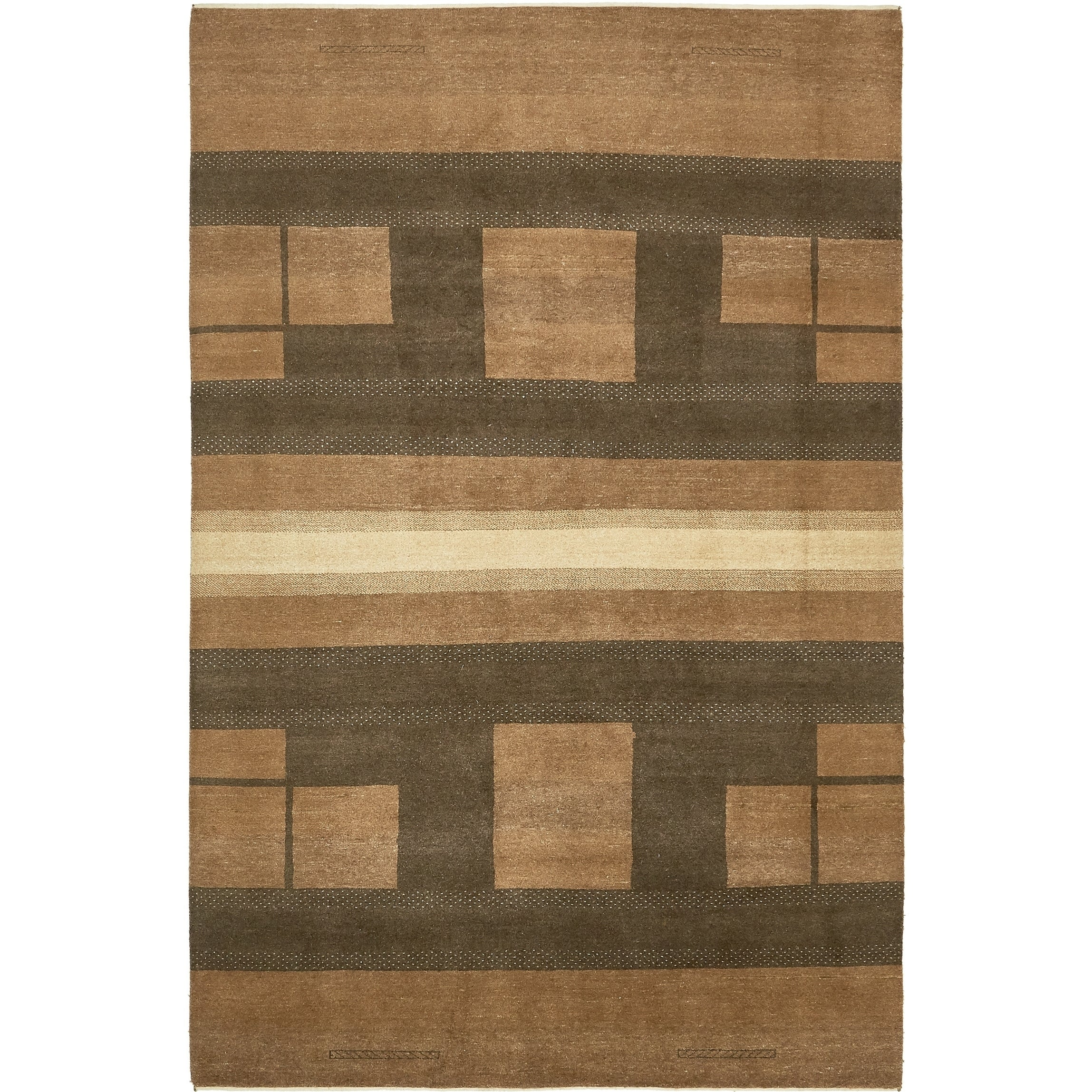 Hand Knotted Kashkuli Gabbeh Wool Area Rug - 6 4 x 9 7 (Brown - 6 4 x 9 7)