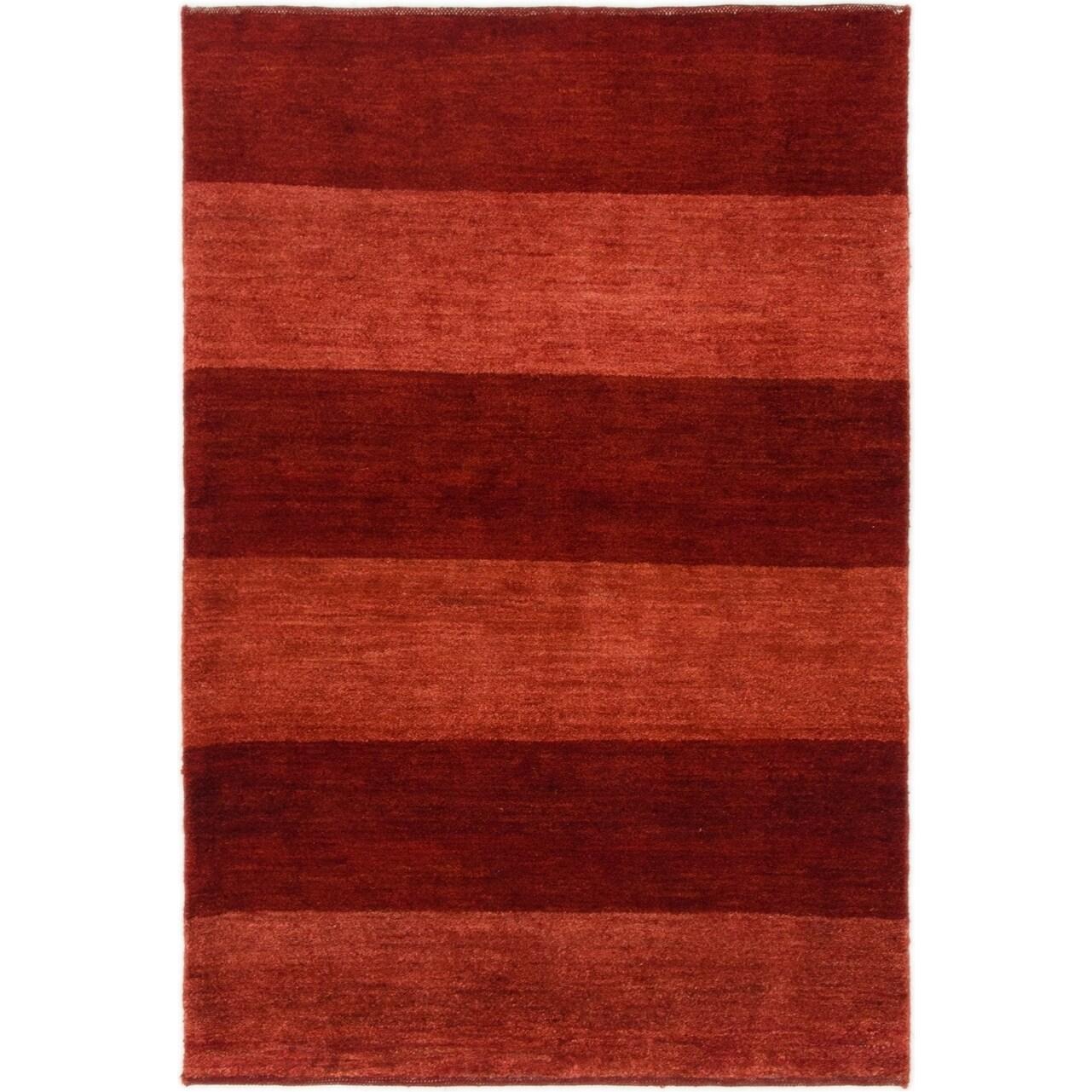Hand Knotted Kashkuli Gabbeh Wool Area Rug - 3 3 x 4 10 (Burgundy - 3 3 x 4 10)