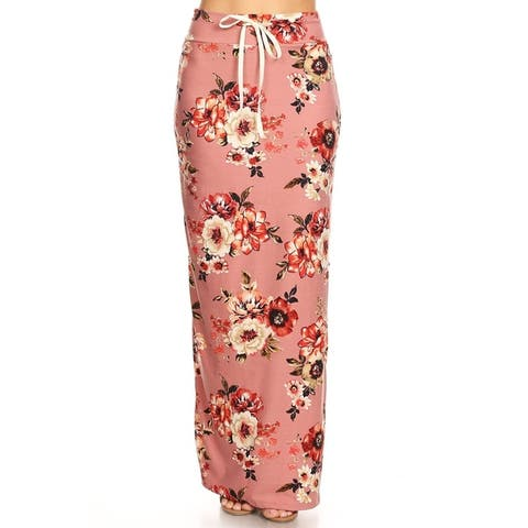 Women's Casual Floral Print Drawstring High Waist Maxi Skirt
